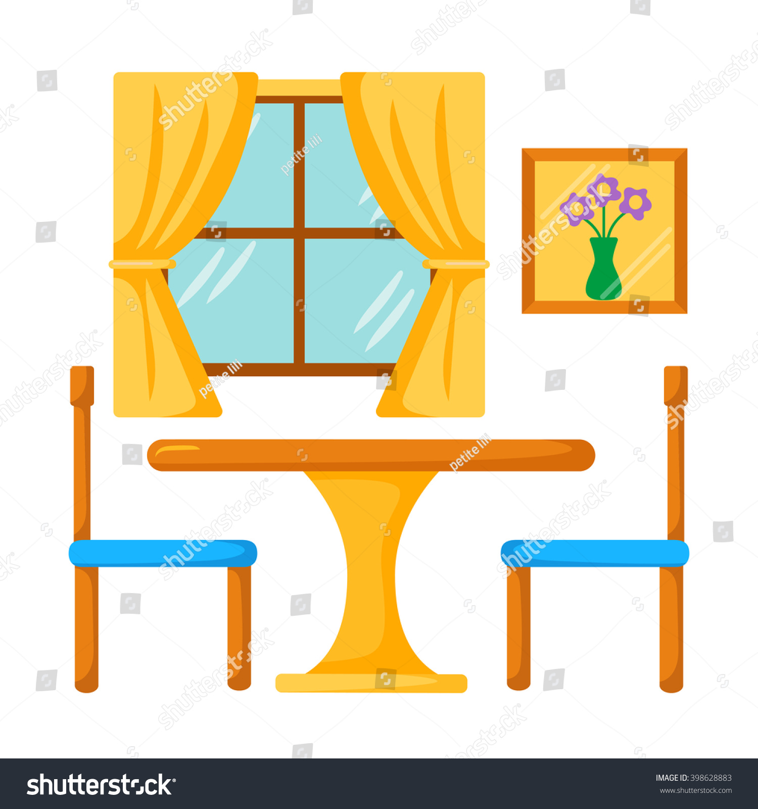 Vector Dinner Table Chairs Dining Room Stock Vector