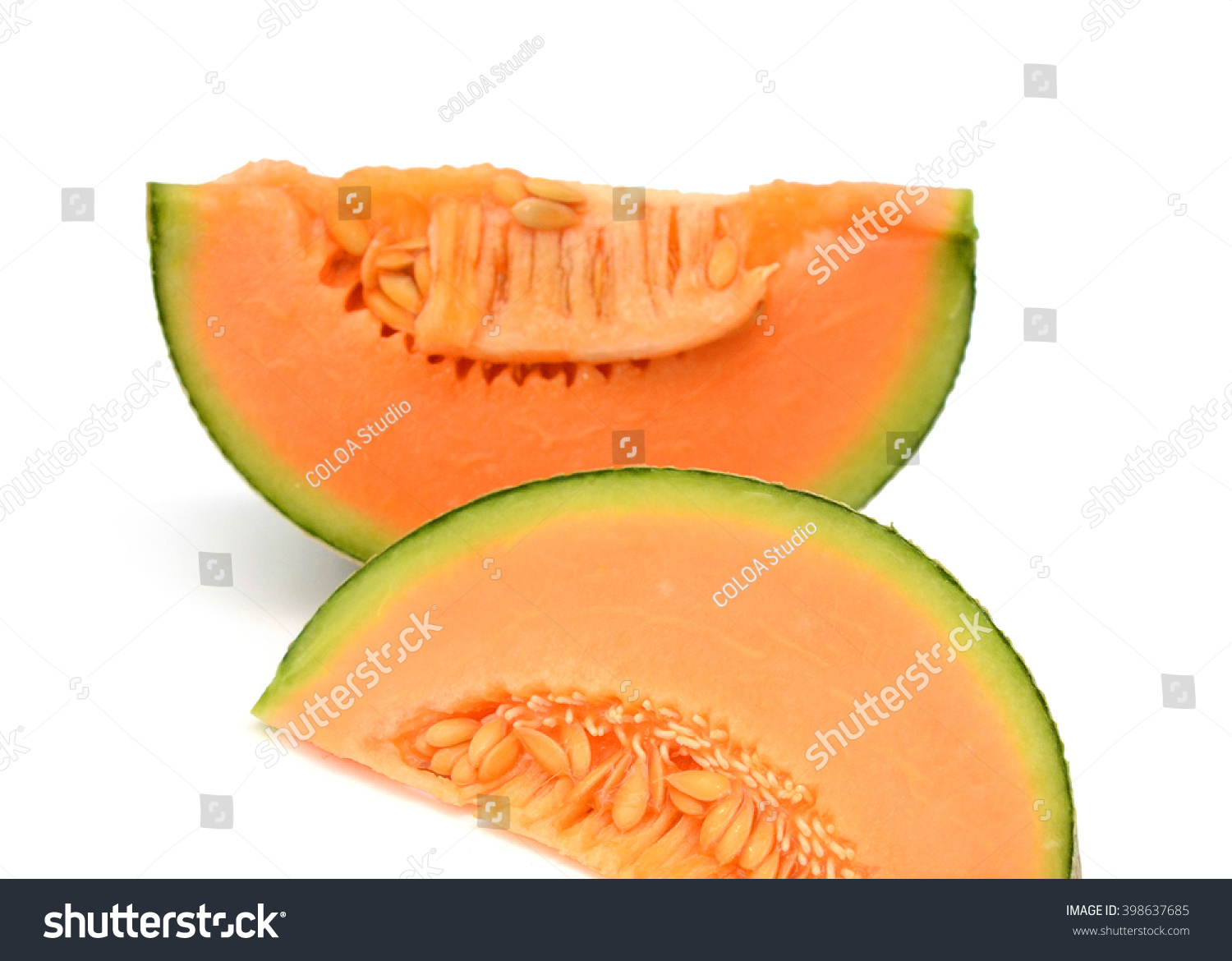 cantaloupe melone isolated on white stock photo 398637685 shutterstock. Black Bedroom Furniture Sets. Home Design Ideas
