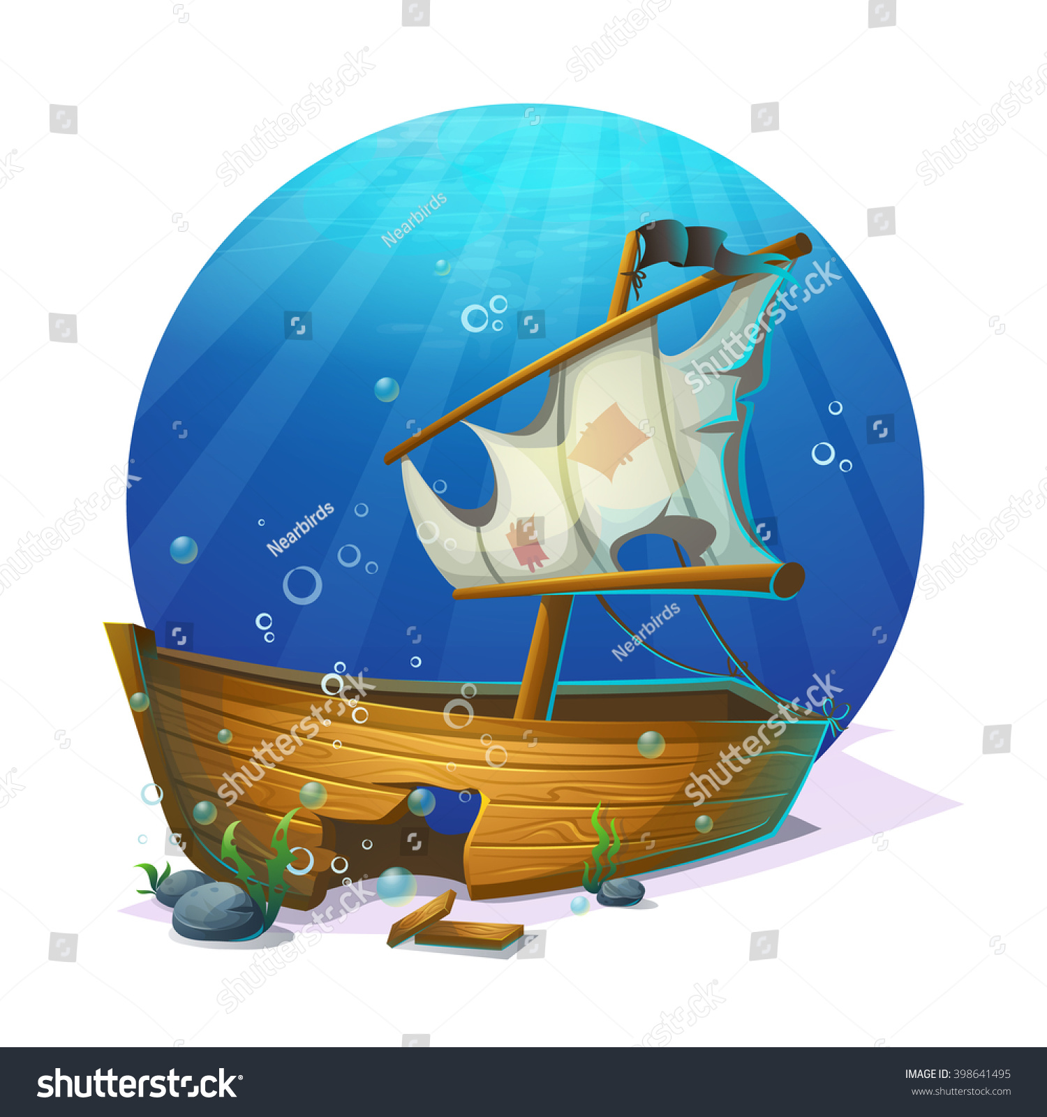 undersea world old pirate ship shipwreck stock vector 398641495