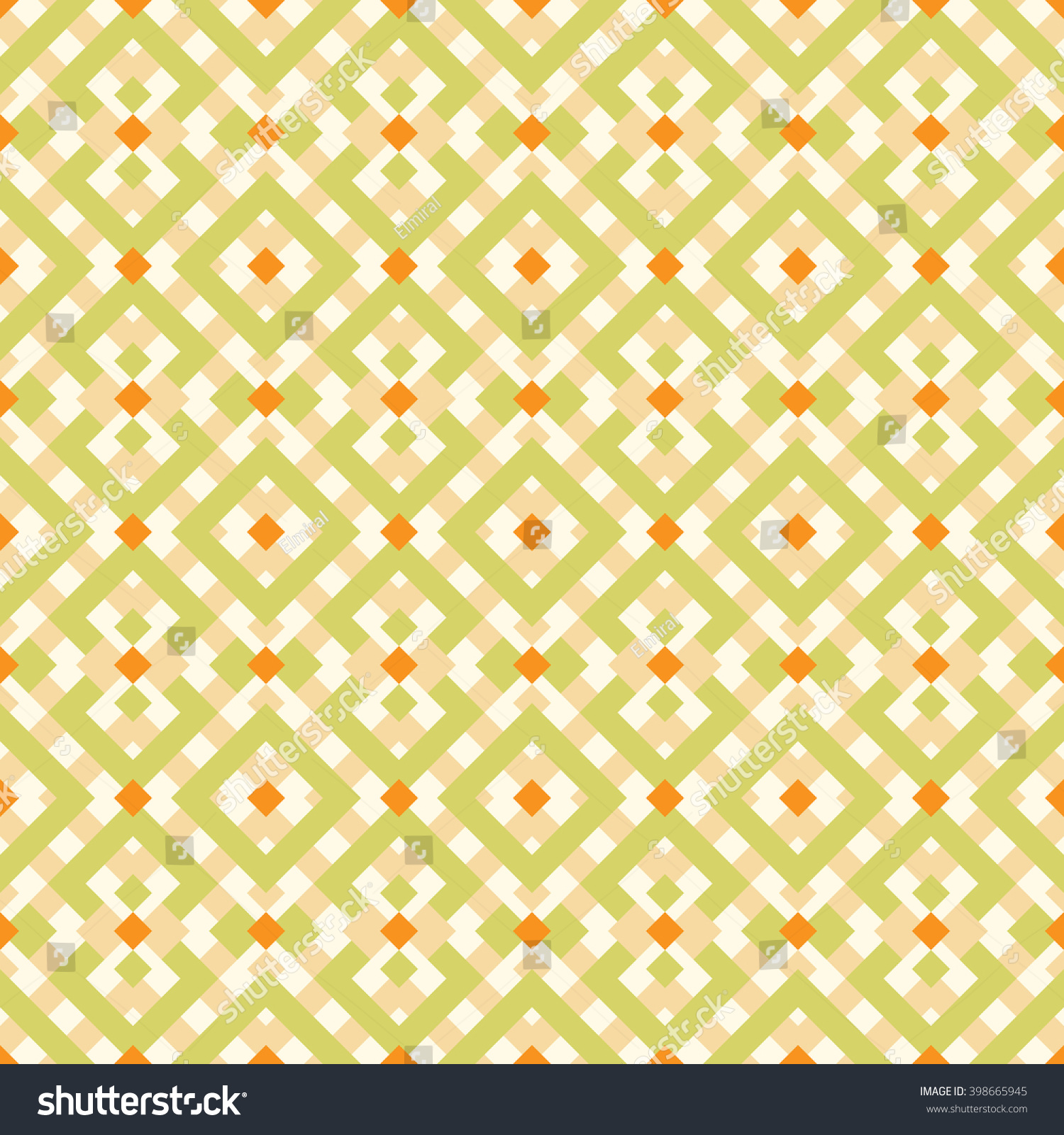 stock vector geometric abstract green and orange pattern vector seamless wallpaper 398665945