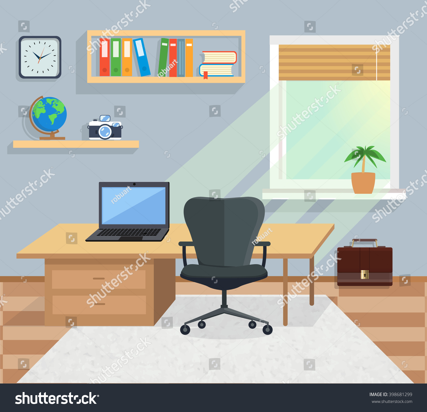 modern interior office stock. modern office interior with designer desktop in flat design room space stock