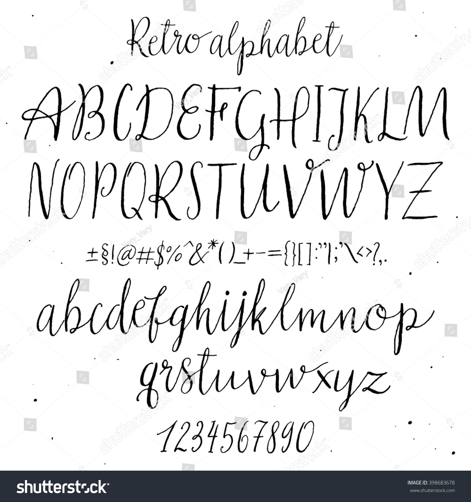 hand drawn lettering retro alphabet script painted letters 12074 | stock vector retro hand drawn alphabet script painted letters handwritten cursive typeface lettering and 398683678