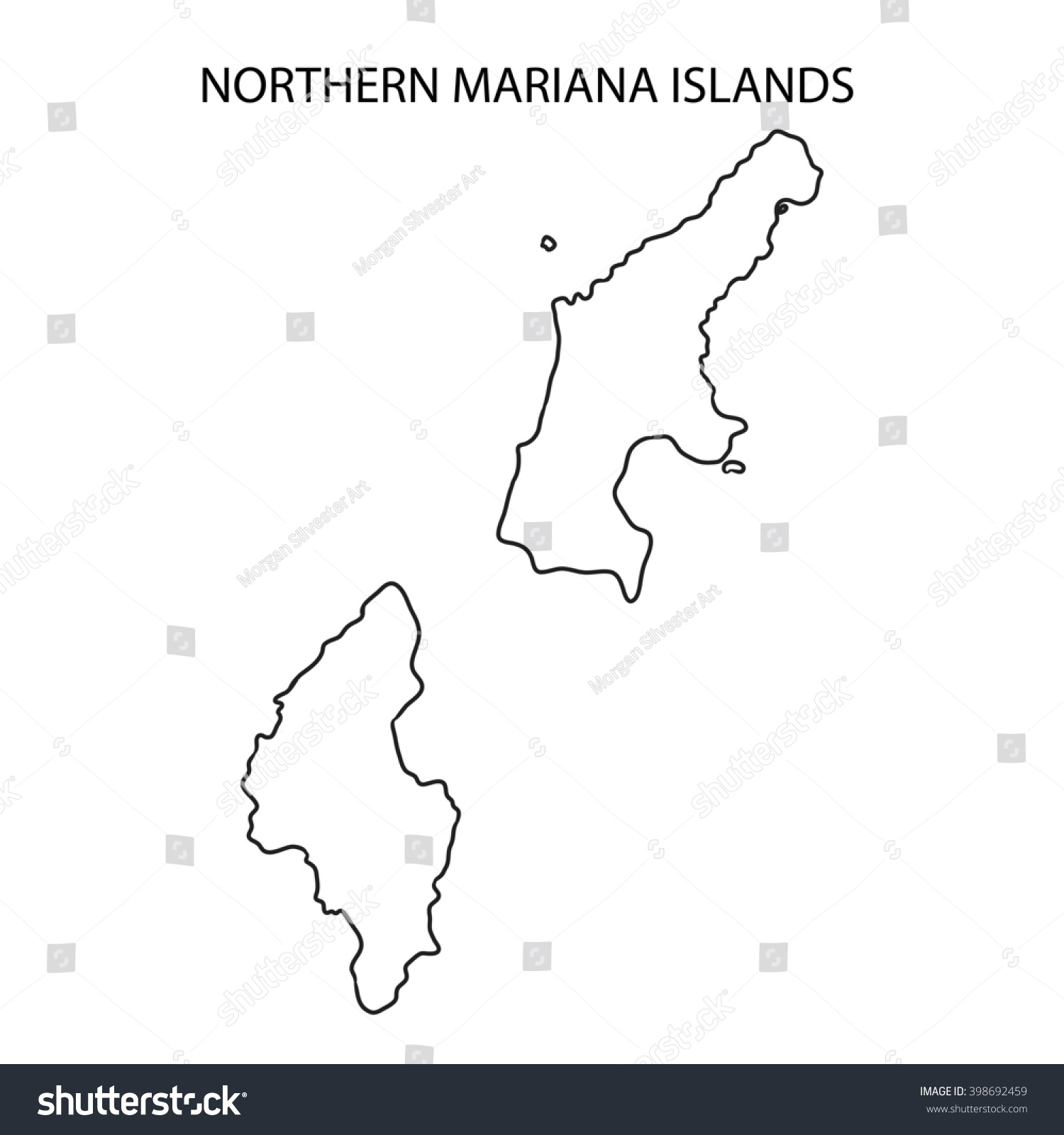 Northern Mariana Islands Map Outline Stock Illustration 398692459 ...