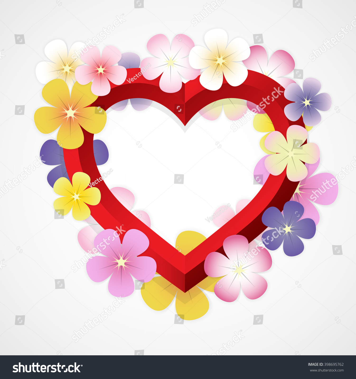 Abstract Colorful Flower Red Heart Shape Stock Vector Royalty Free
