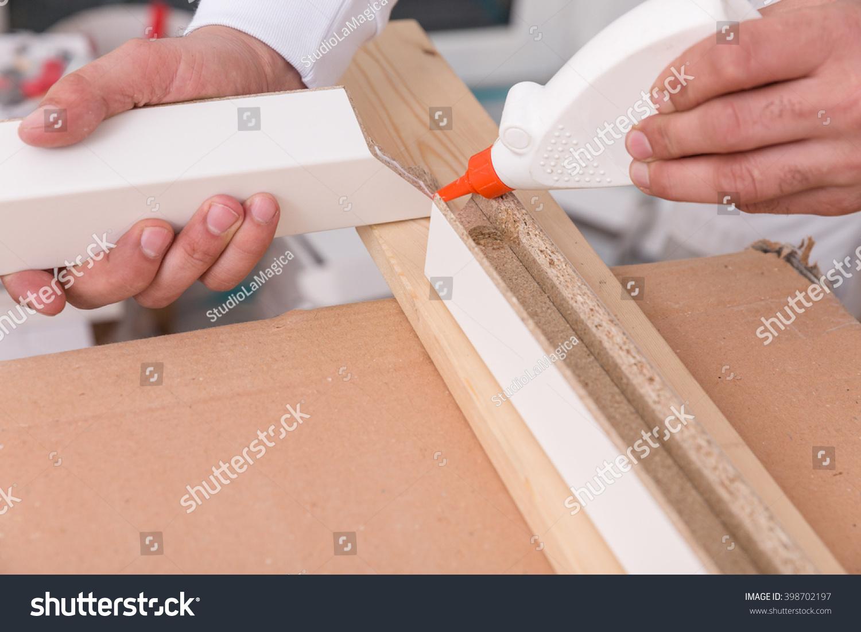 Fixing Door Frame Glue Stock Photo (Royalty Free) 398702197 ...