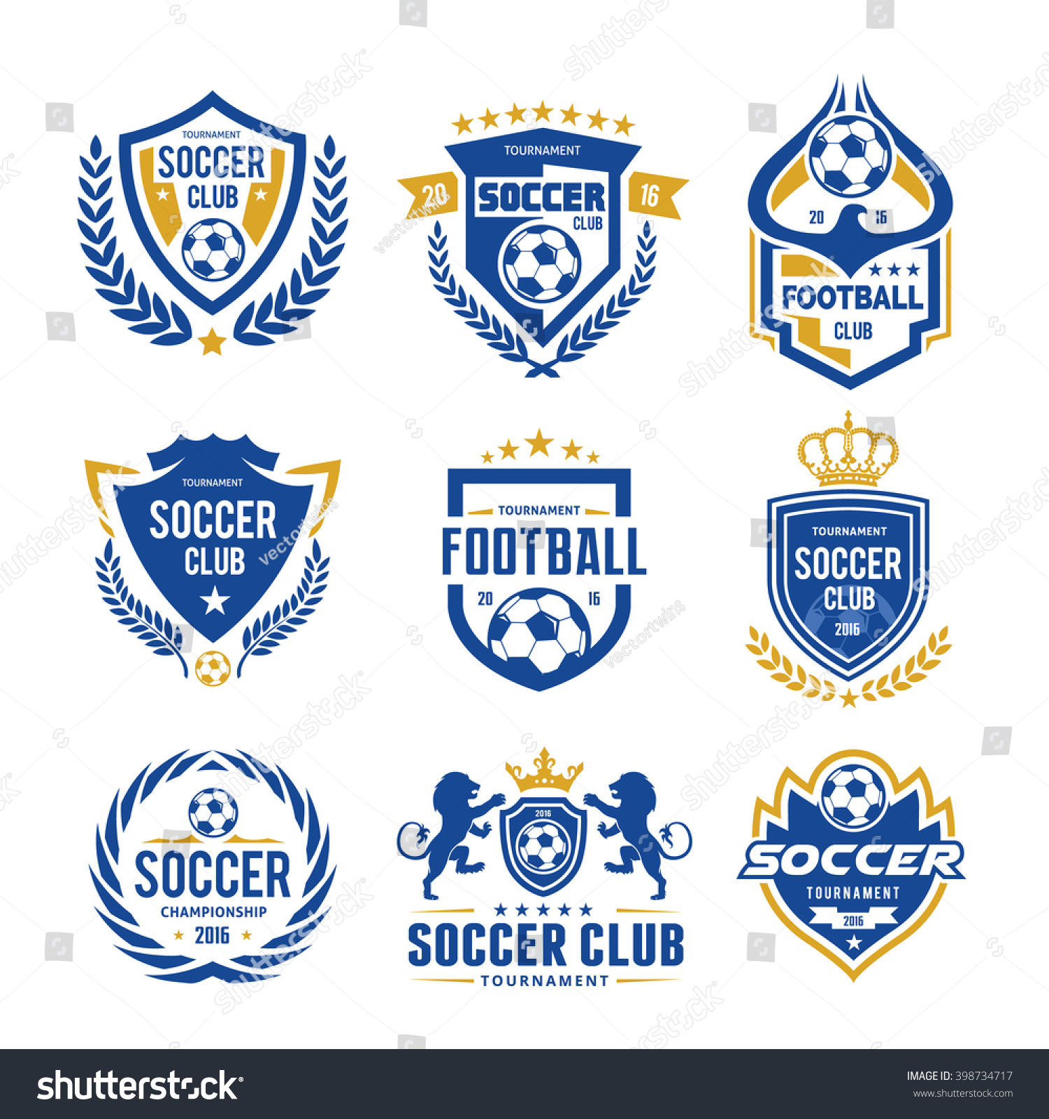 set soccer football logo template stock vector royalty free