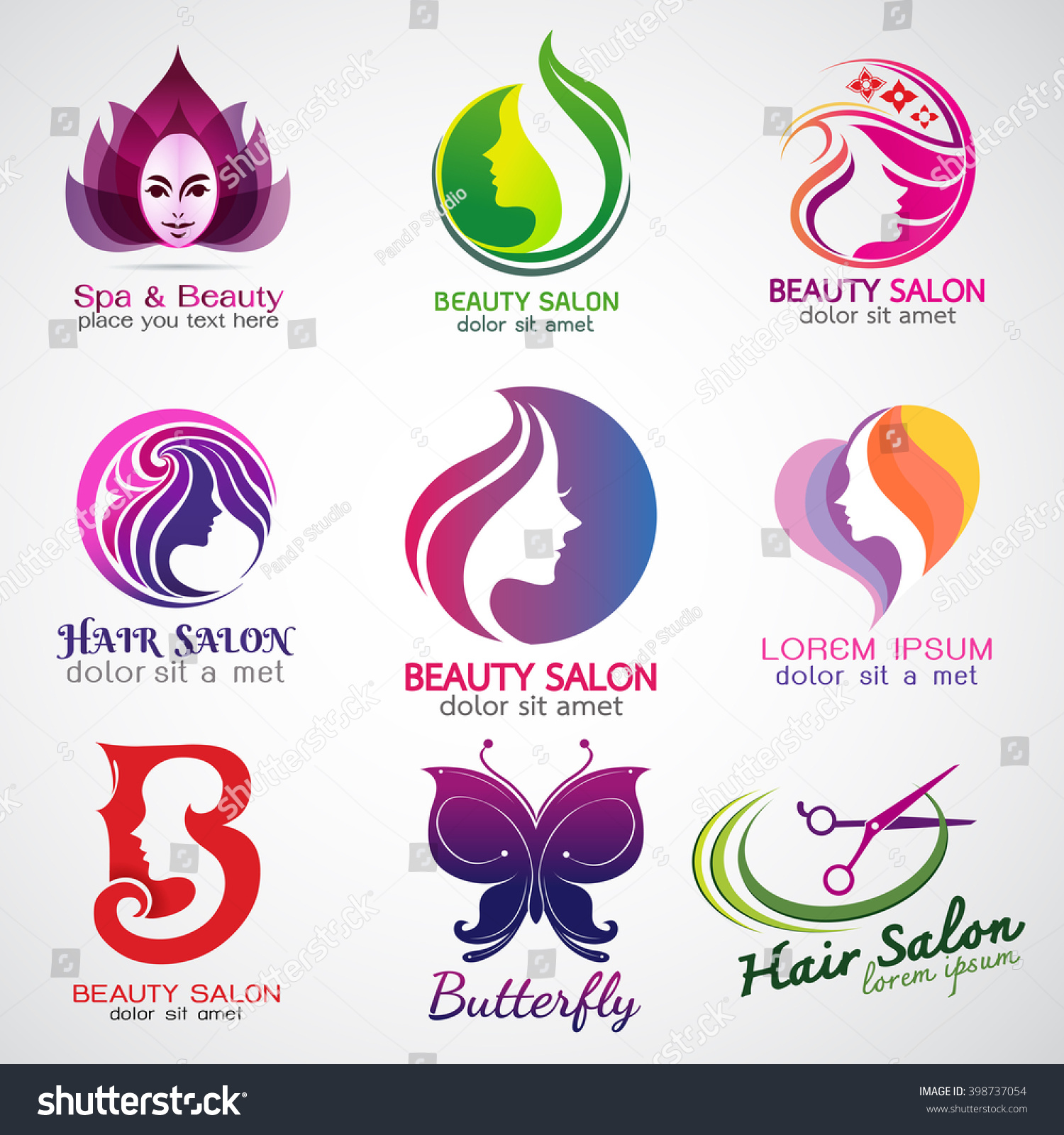 Set vector logos beauty salon set stock vector 398737054 for Hair salon companies