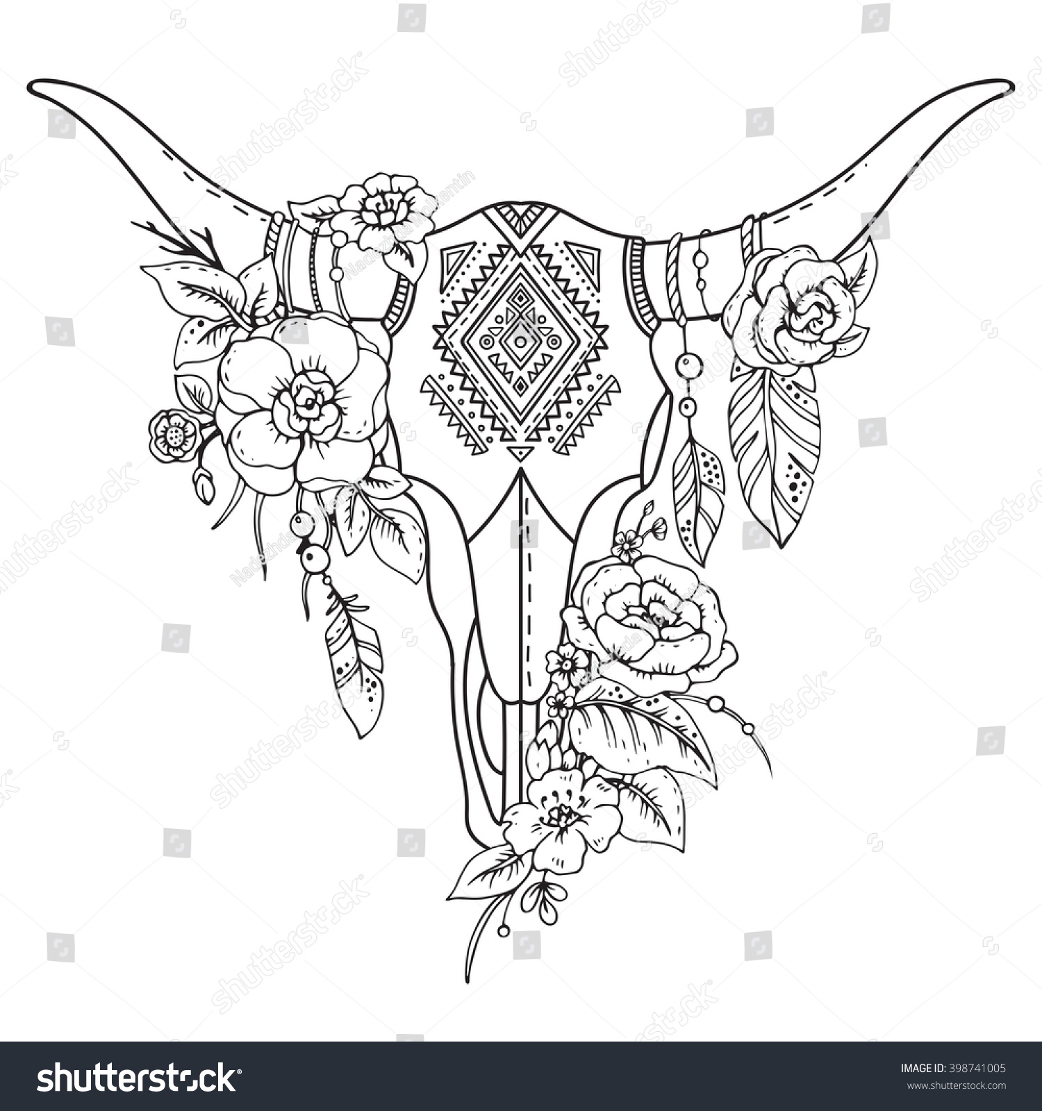 Decorative Indian Bull Skull With Ethnic Ornament Feathers Flowers And Leaves Hand Drawn