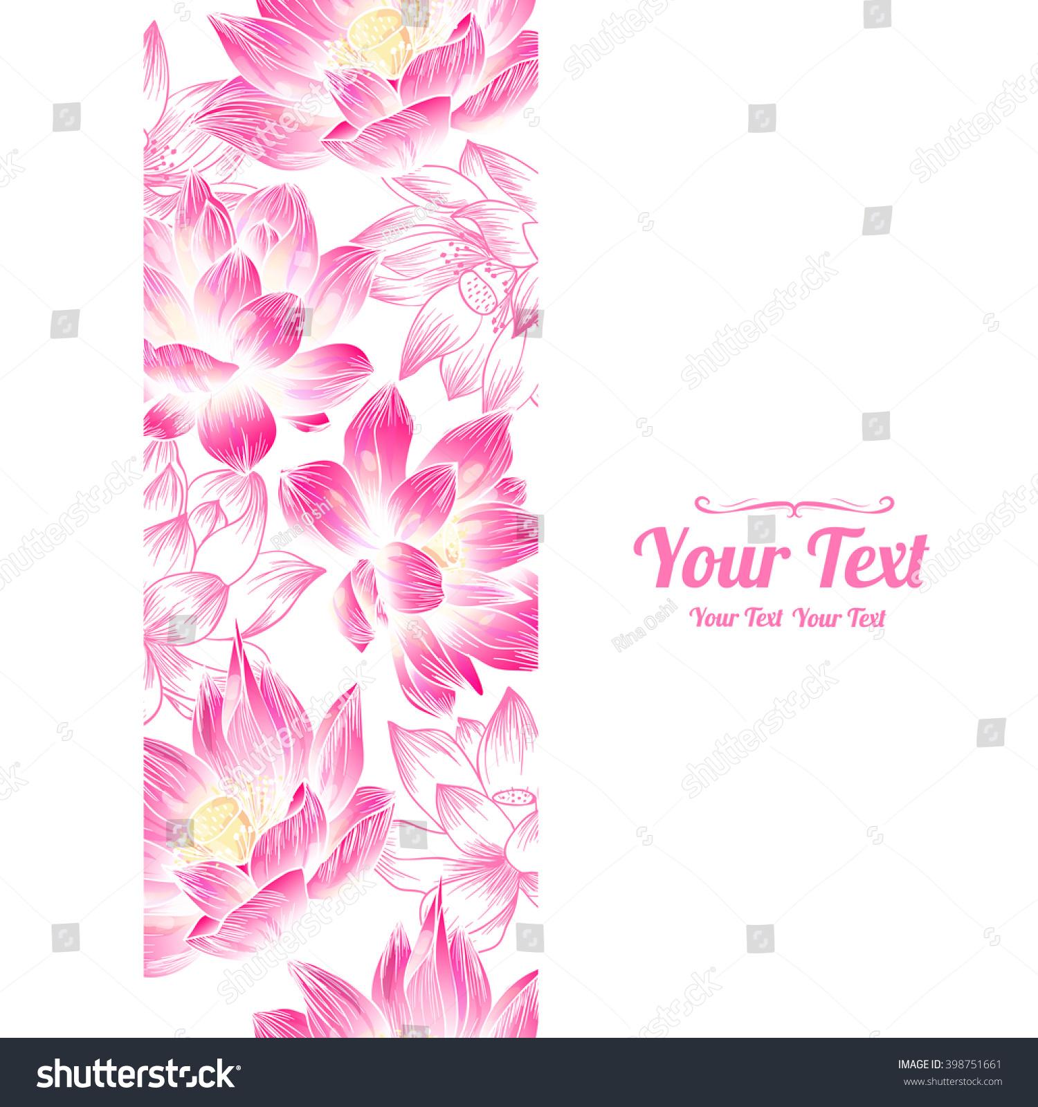 vector lotuses flowers vertical frame seamless stock