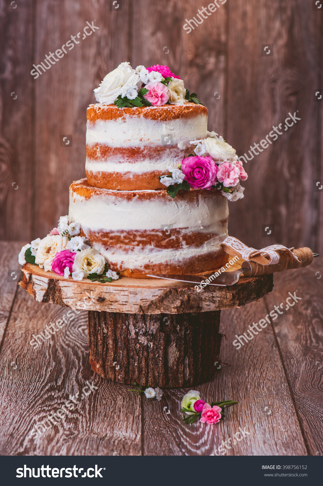 Homemade Wedding Naked Cake Decorated Flowers Stock Photo