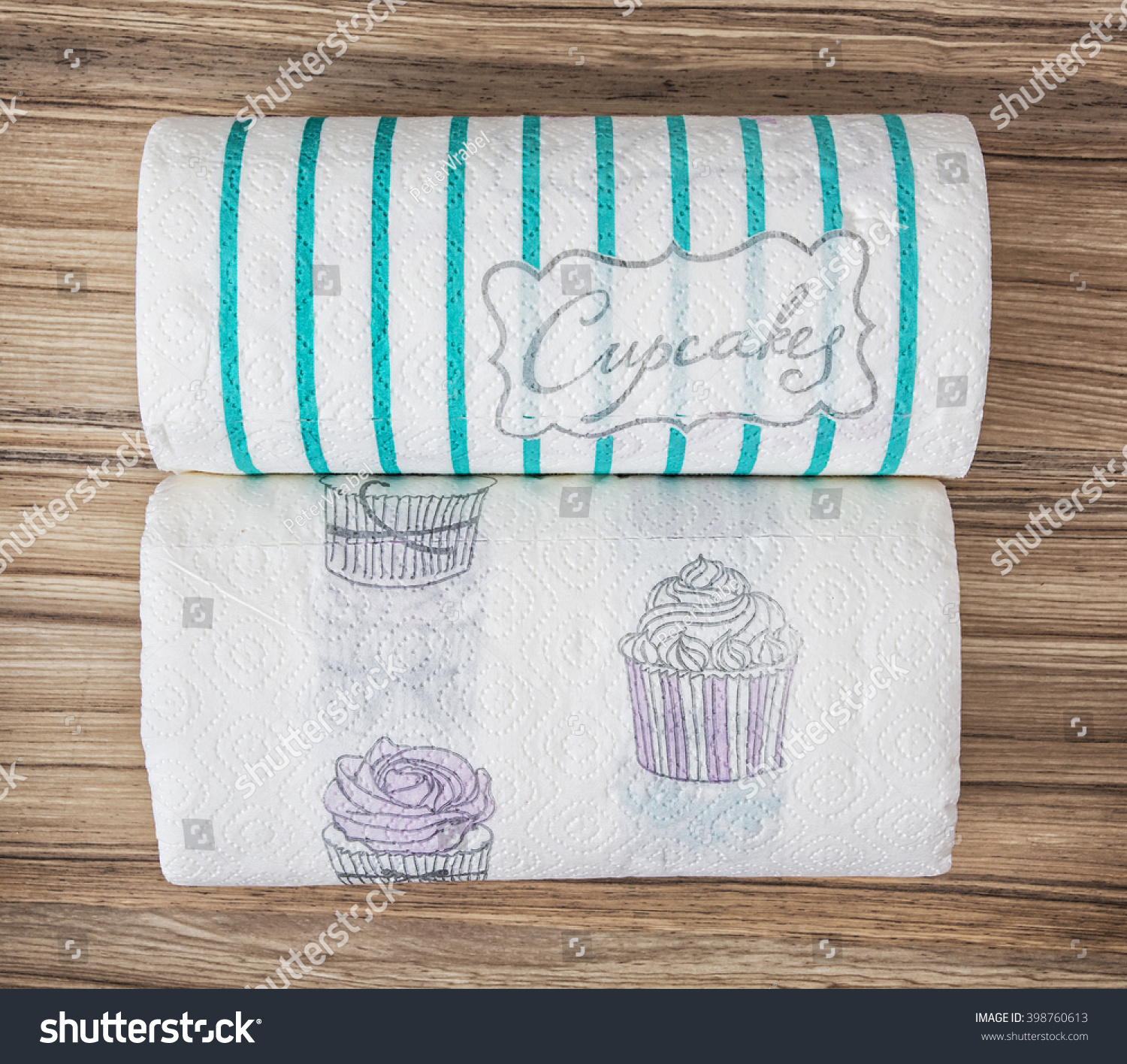 Two decorative kitchen paper towel rolls stock photo for Decorative paper rolls