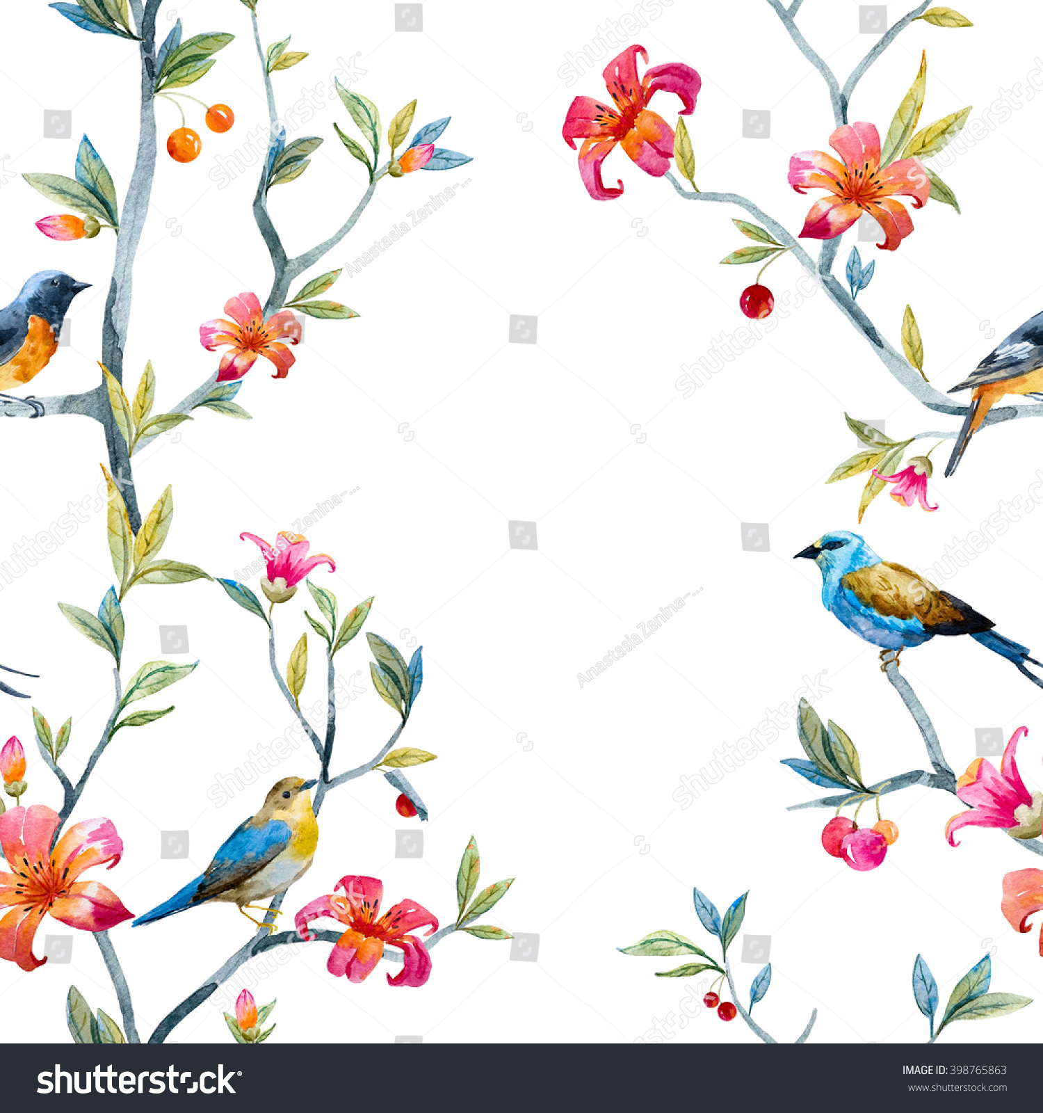 watercolor seamless pattern birds flowers tree stock illustration