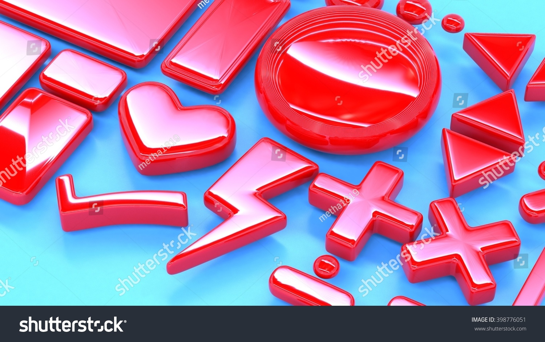 Set Red 3 D Math Symbols Signs Stock Illustration 398776051
