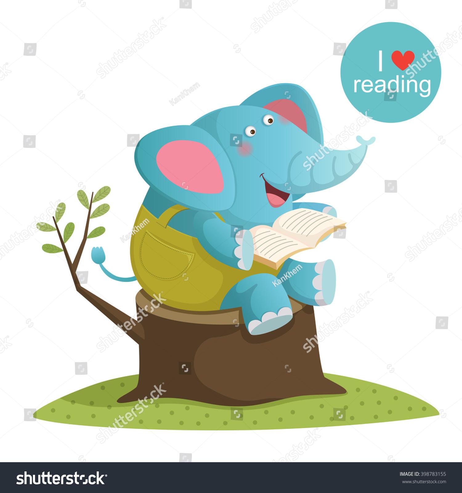 Worksheet Elephant Reading vector illustration cartoon elephant reading book stock of a book