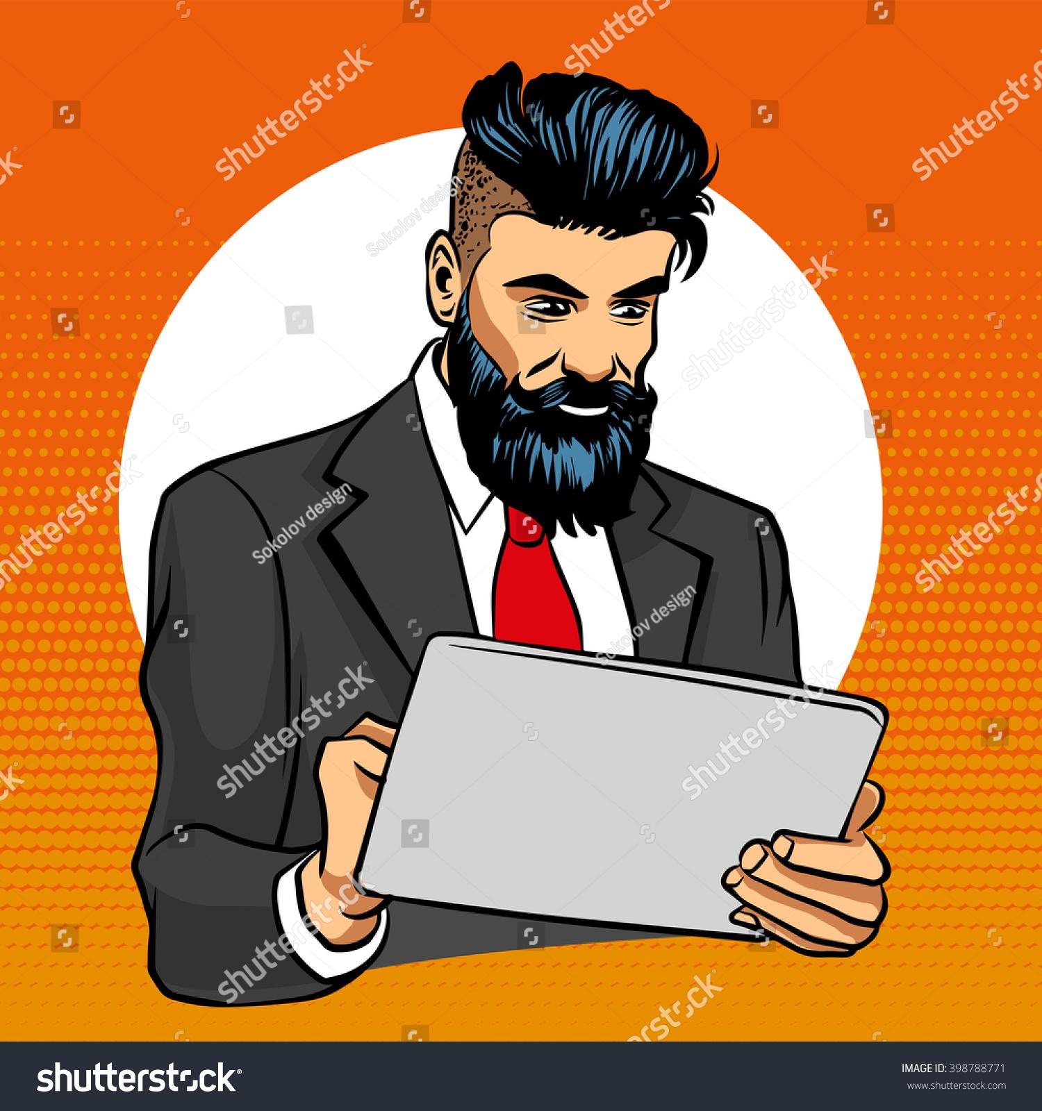 Hipster Beard Mustache Surf Internet On Stock Vector ...