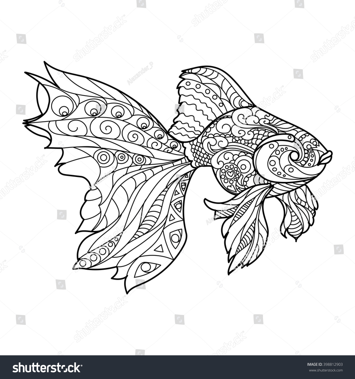 gold fish coloring book for adults vector illustration anti stress coloring for adult - Fish Coloring Book