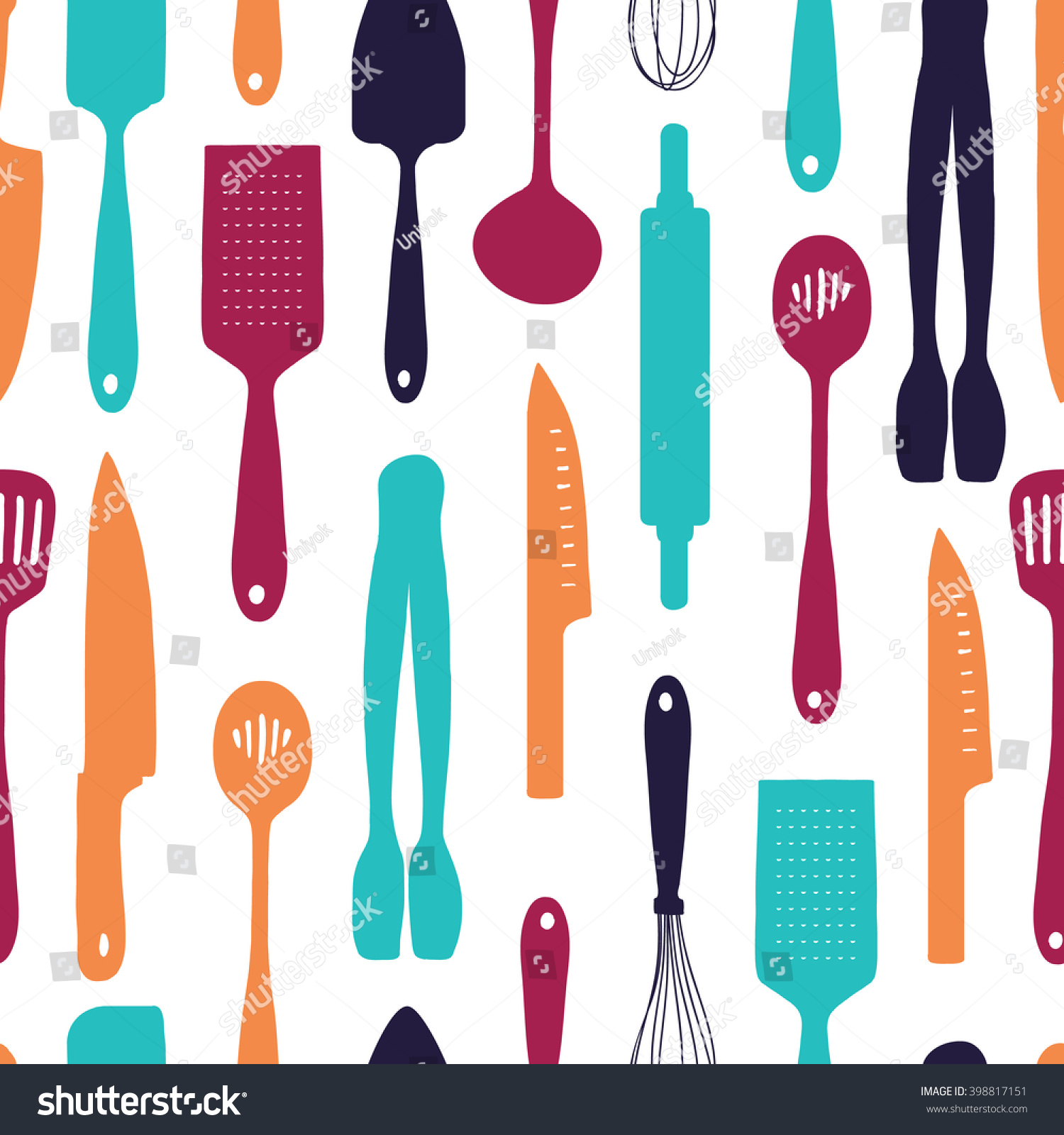 Seamless Background Pattern Silhouette Cutlery Vertical Stock Vector ...