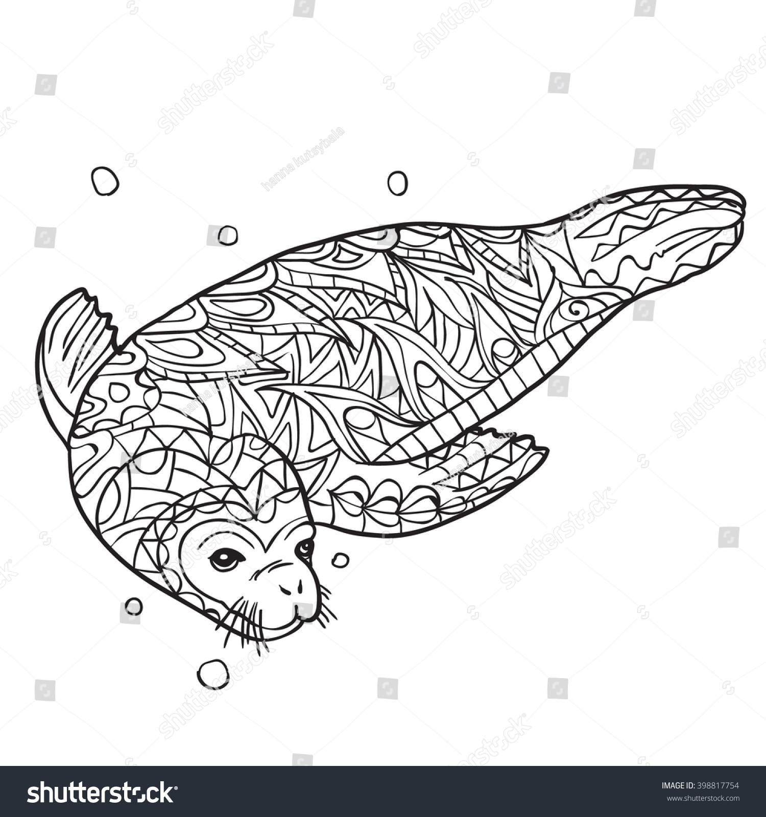 stock vector hand drawn coloring pages with seal illustration for adult anti stress coloring books with high