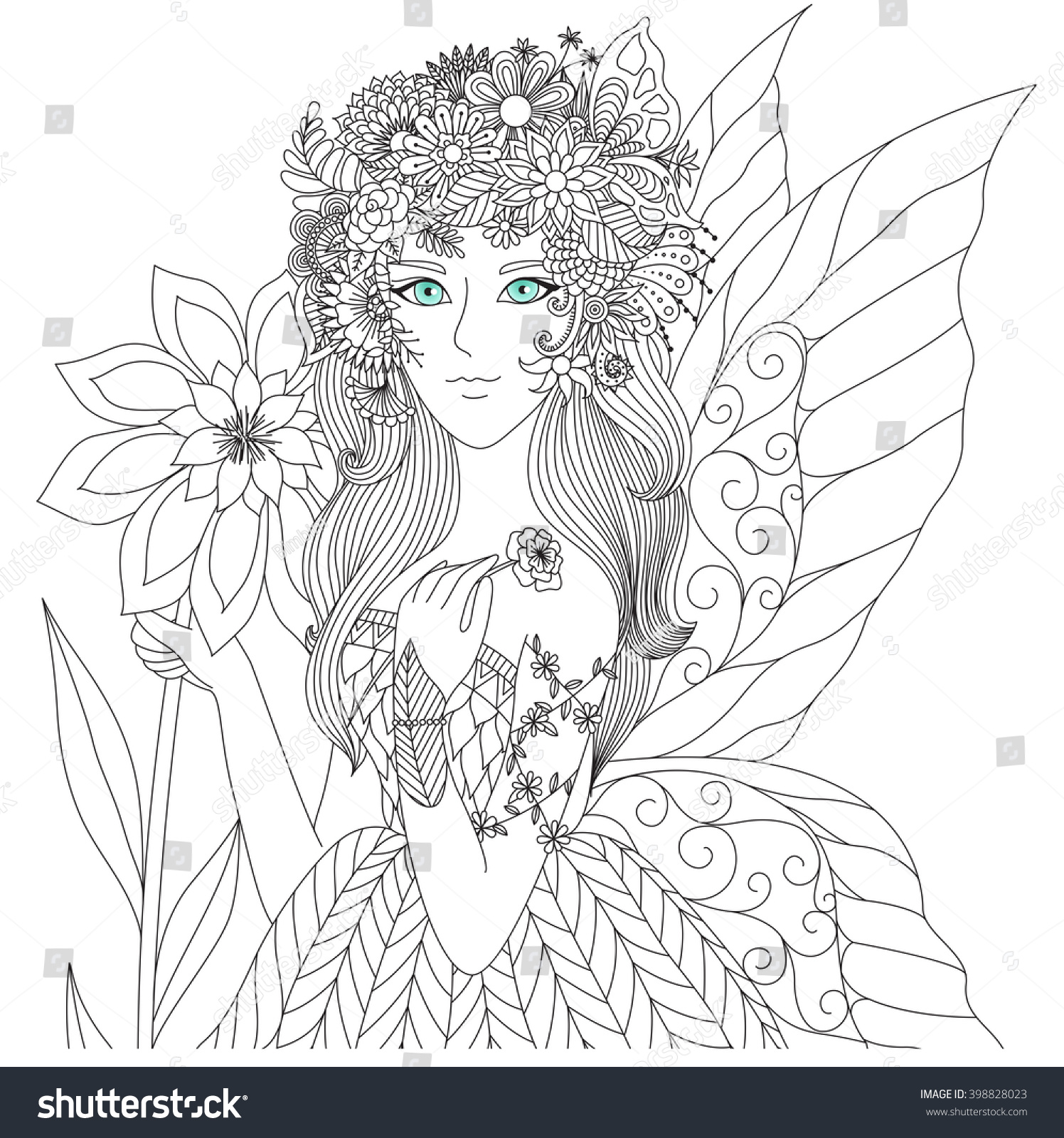 beautiful forest fairy coloring book stock vector 398828023