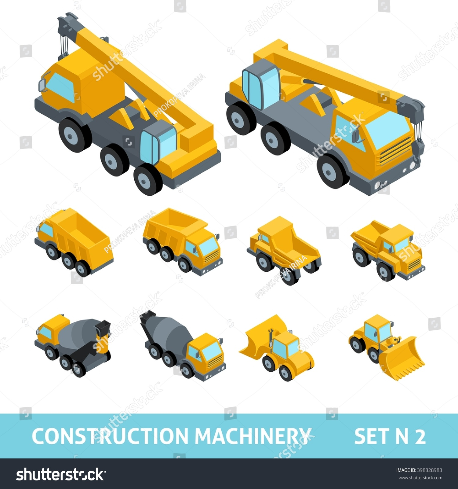 set construction equipment isometric style dump stock vector