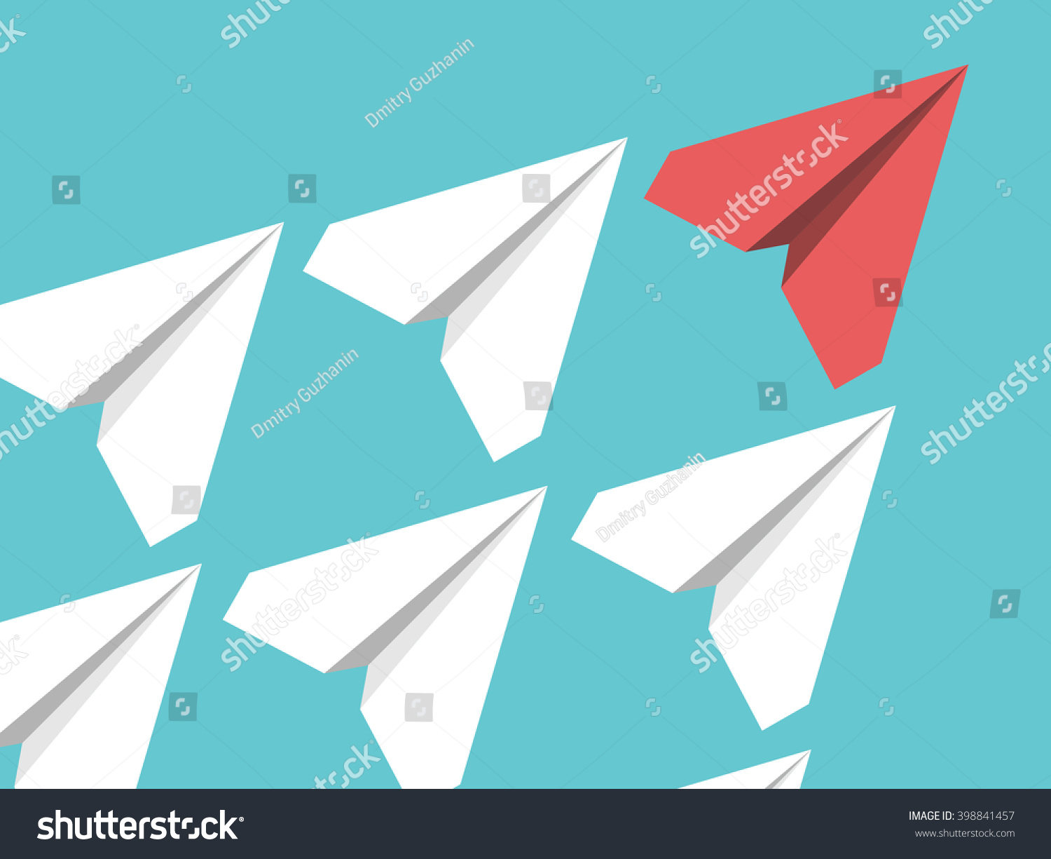 white red paper planes flying turquoise stock vector 398841457 white and red paper planes flying in turquoise blue sky leadership success teamwork