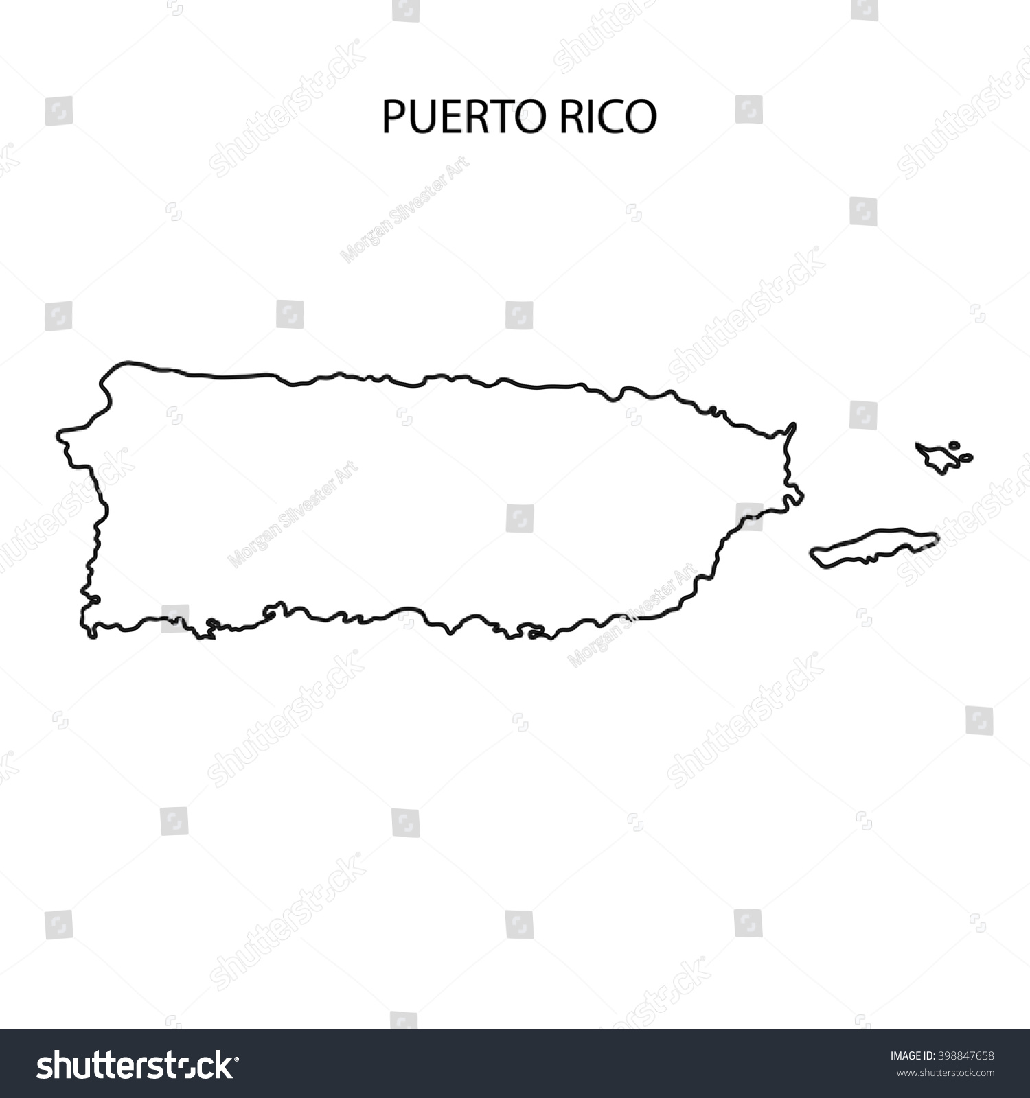 Puerto Rico Map Outline Stock Illustration 398847658