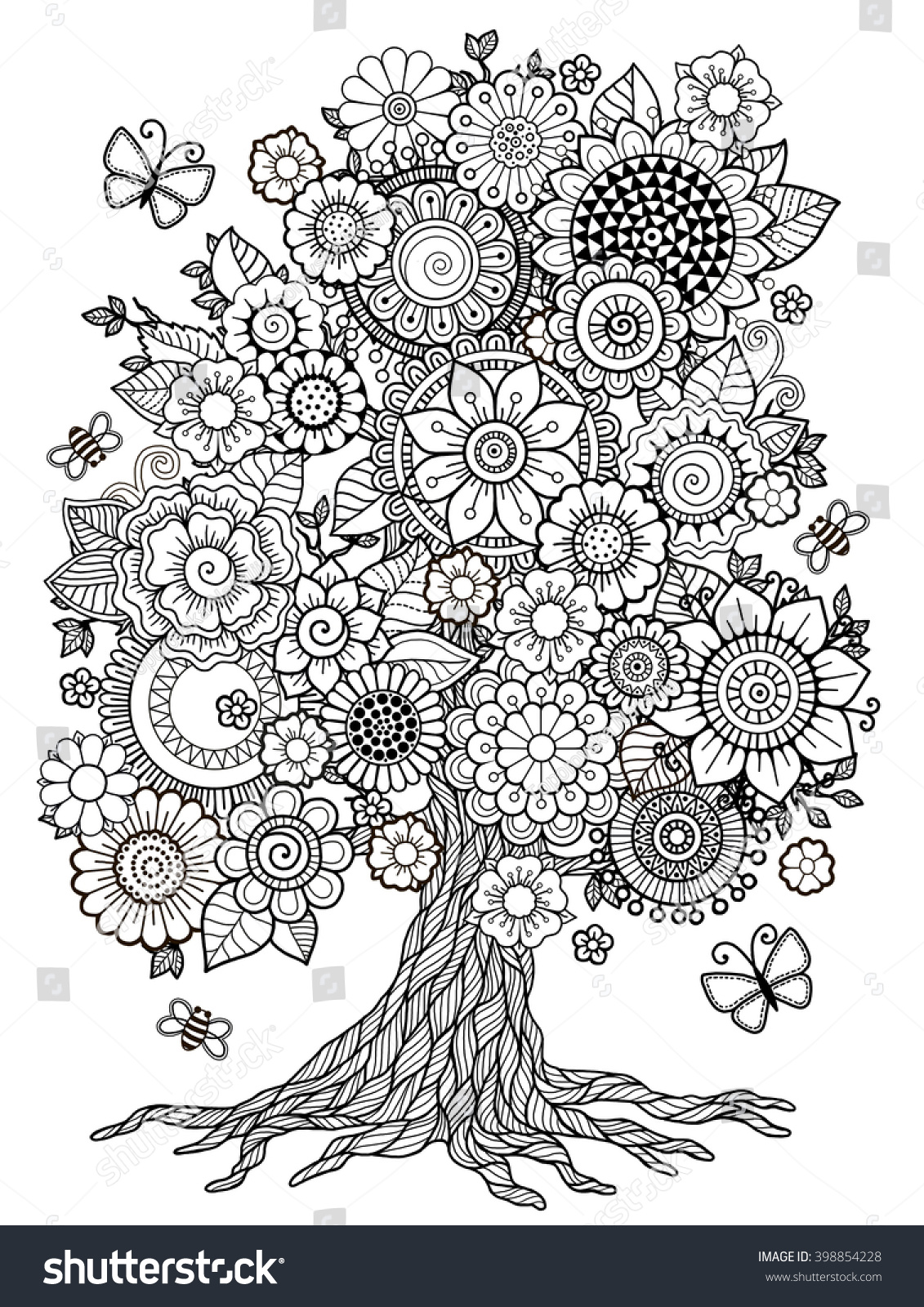 Blossom Tree Coloring Book Adult Doodles Stock Illustration ...