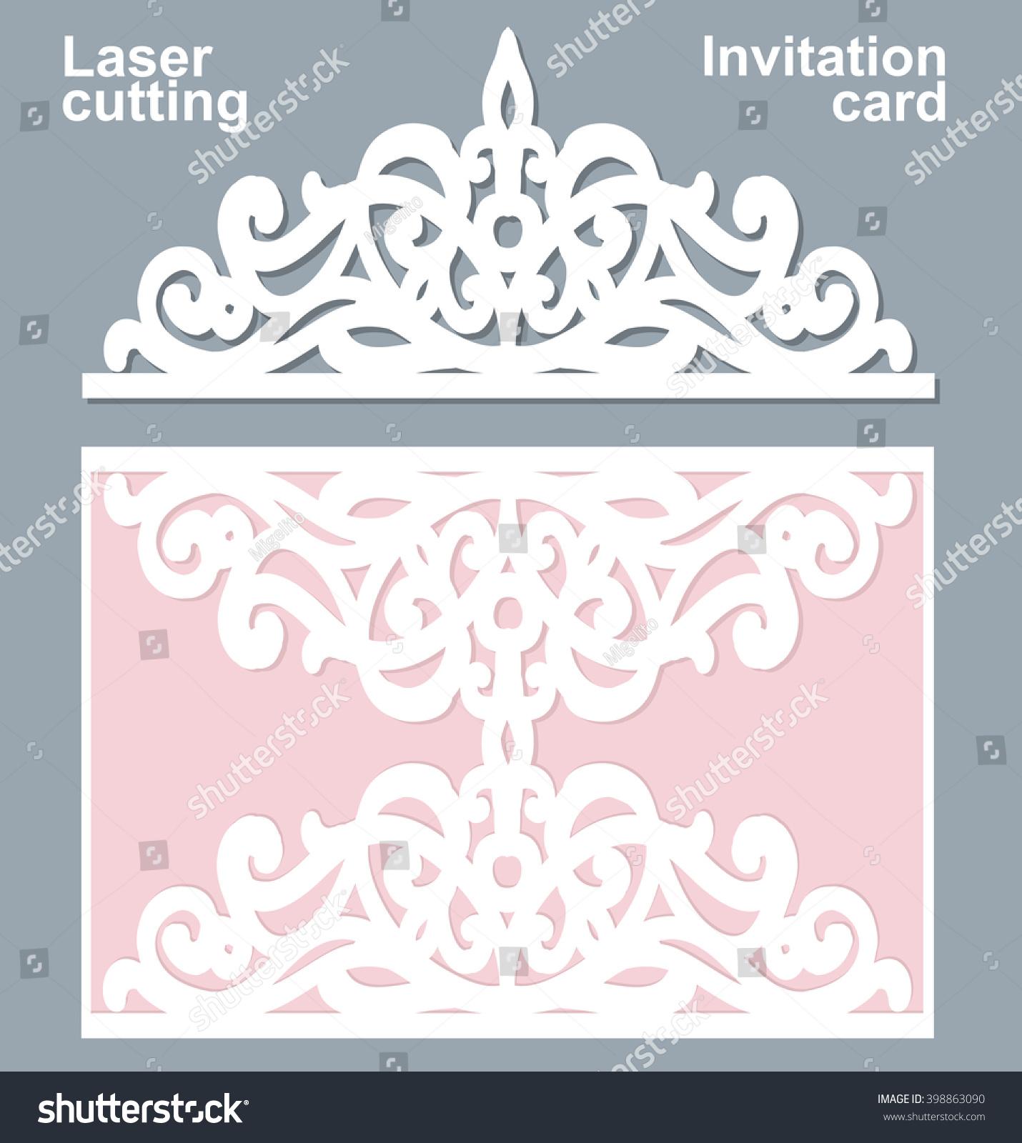 Vector Die Laser Cut Wedding Card Stock Vector 398863090 - Shutterstock