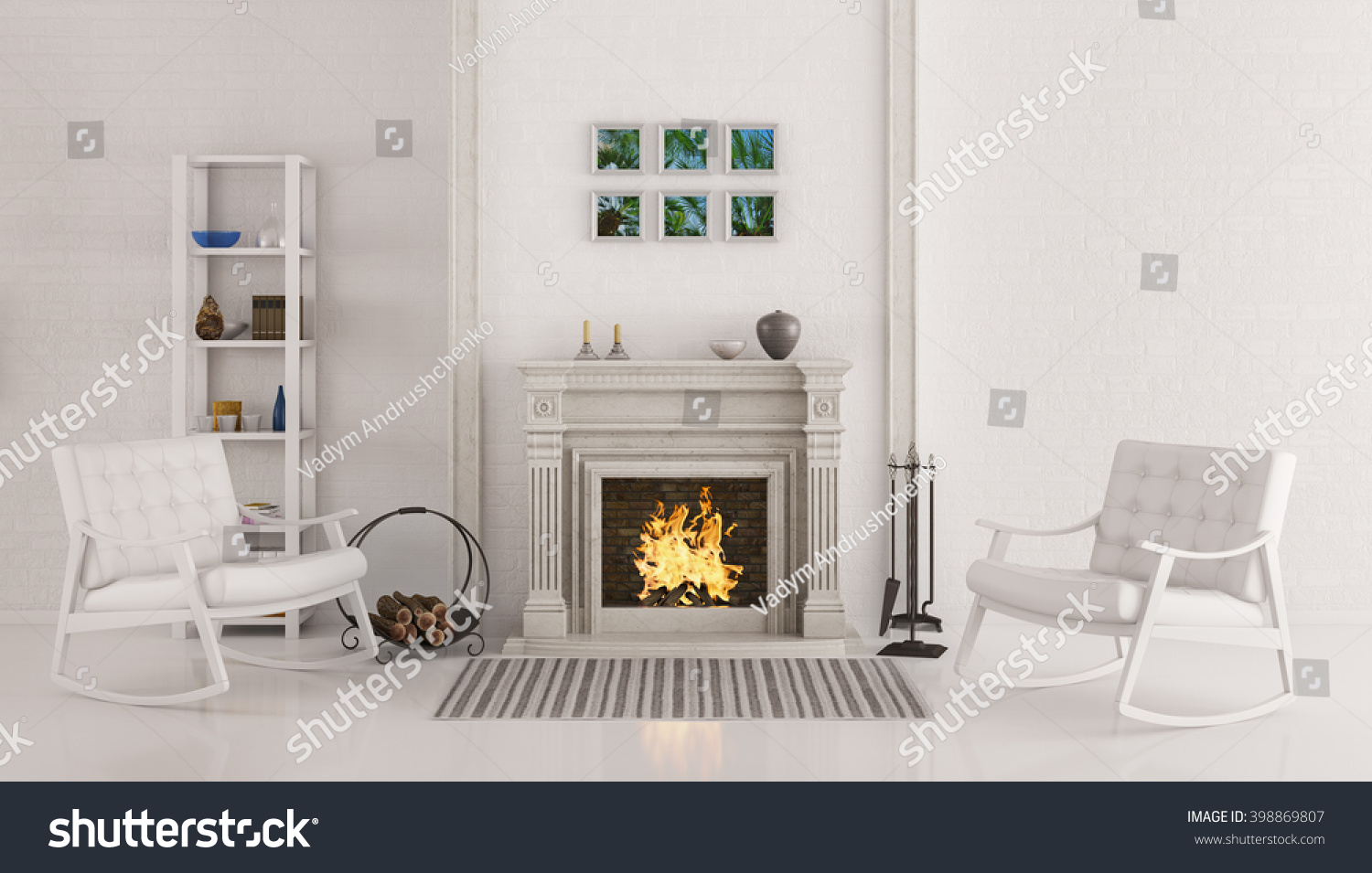 interior white living room fireplace two stock illustration