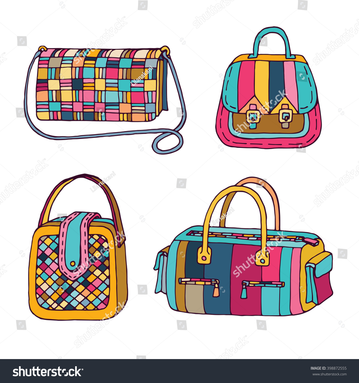 Woman handbags set. Fashion bags collection. Female bag doodle hand drawn  vector illustration. 15e25bb1e0