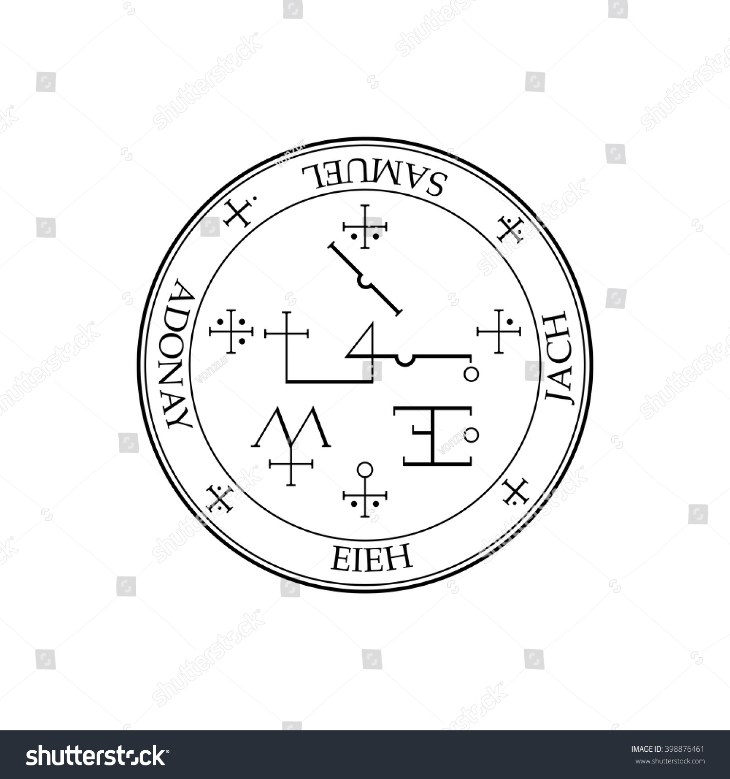 Sigil Archangel Samuel Magical Amulets King Stock Vector 398876461