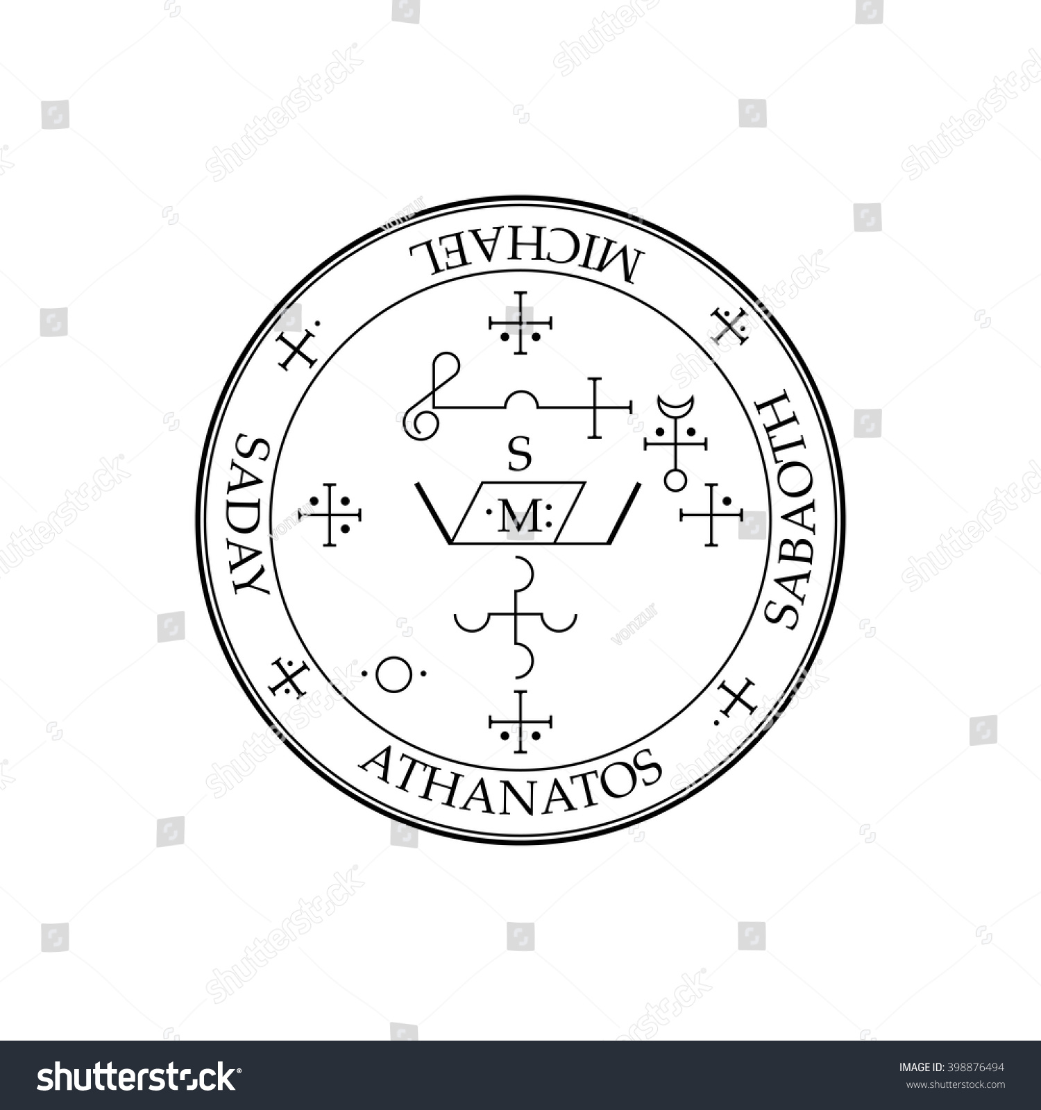 Sigil Archangel Michael Magical Amulets King Stock Vector Royalty