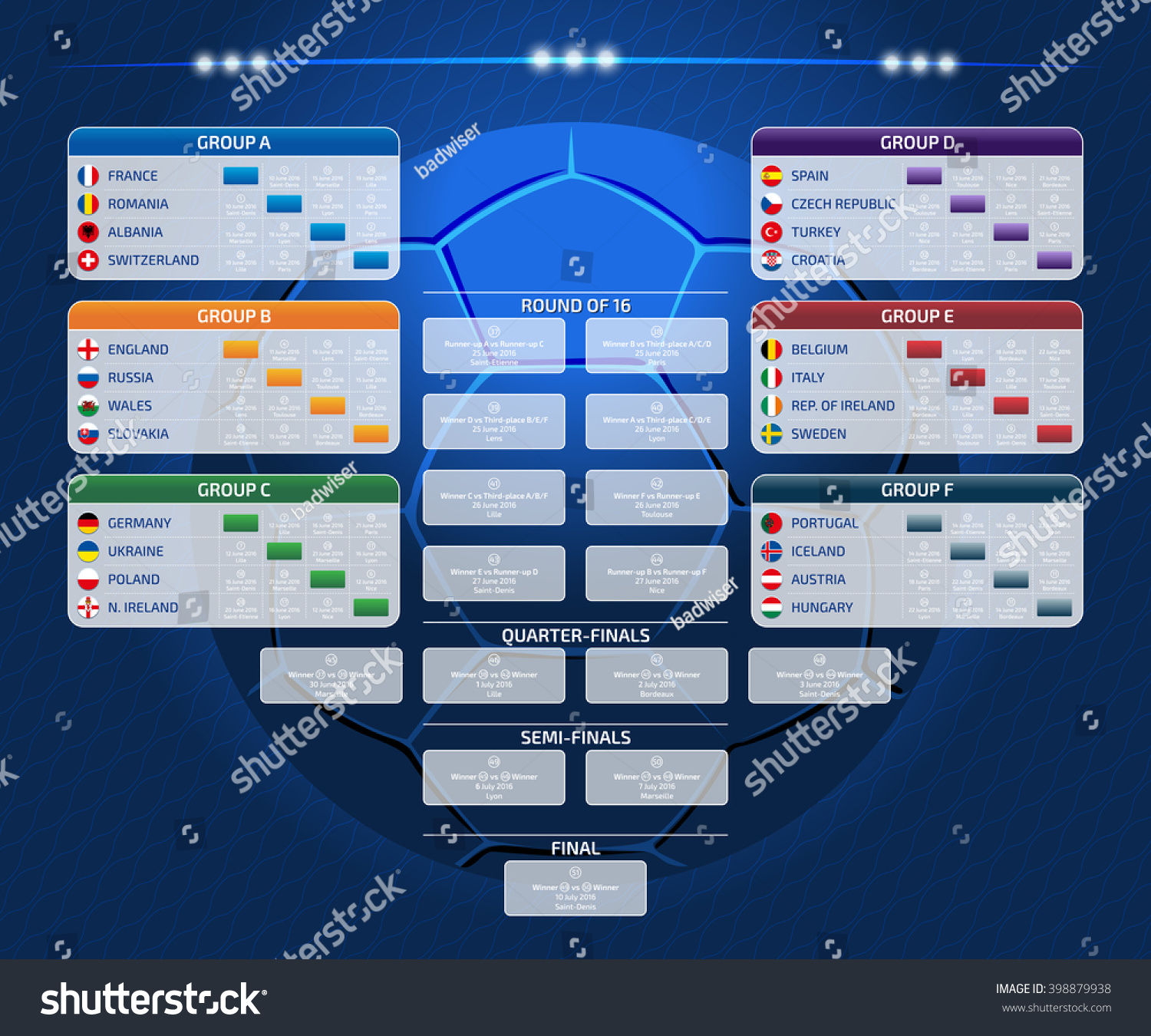 Match schedule template web print football stock vector - European football tables latest ...