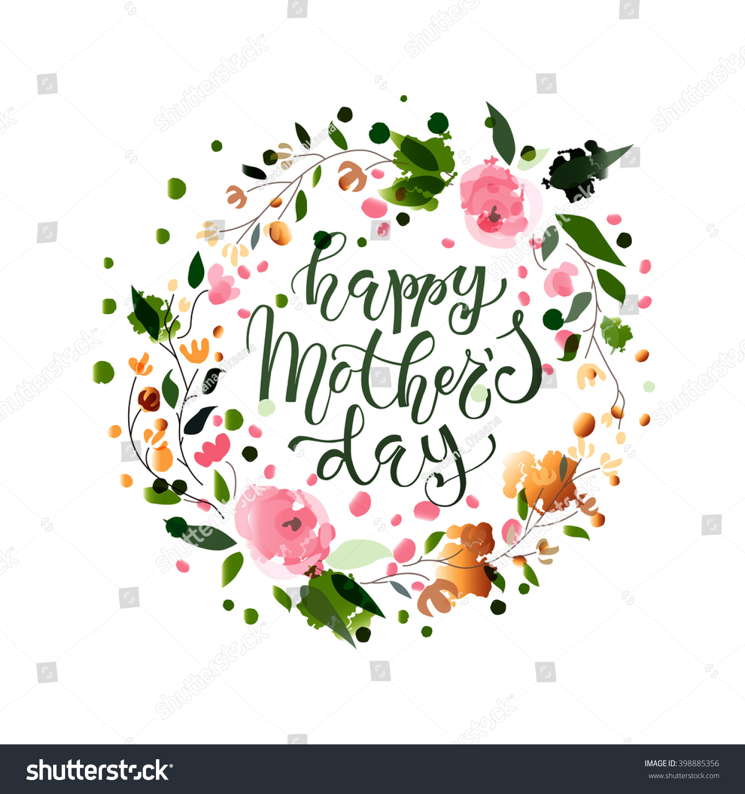 Happy Mothers Day Text Mothers Day Stock Vector 398885356