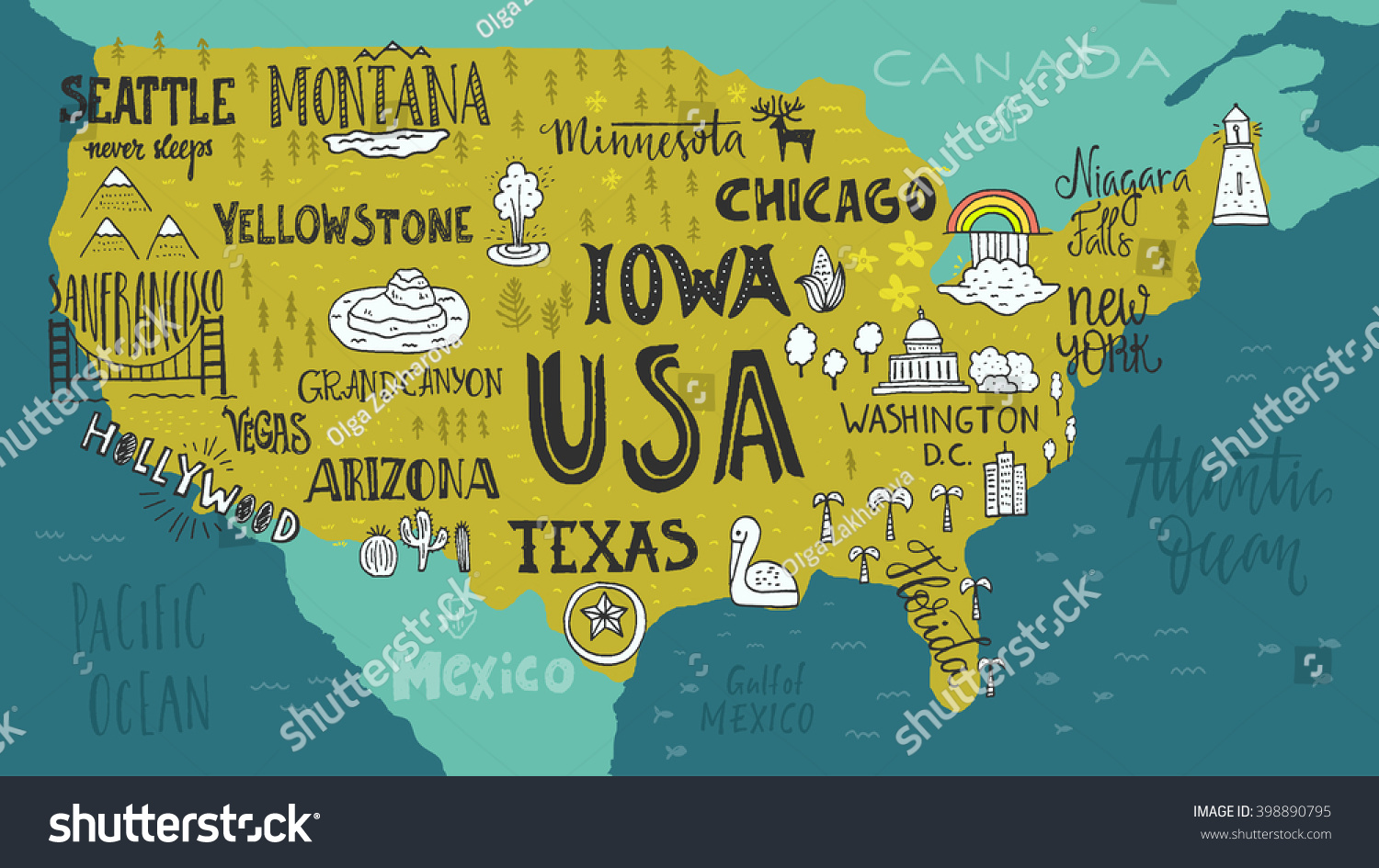 handdrawn illustration of usa map with hand lettering usa map tourist attractions