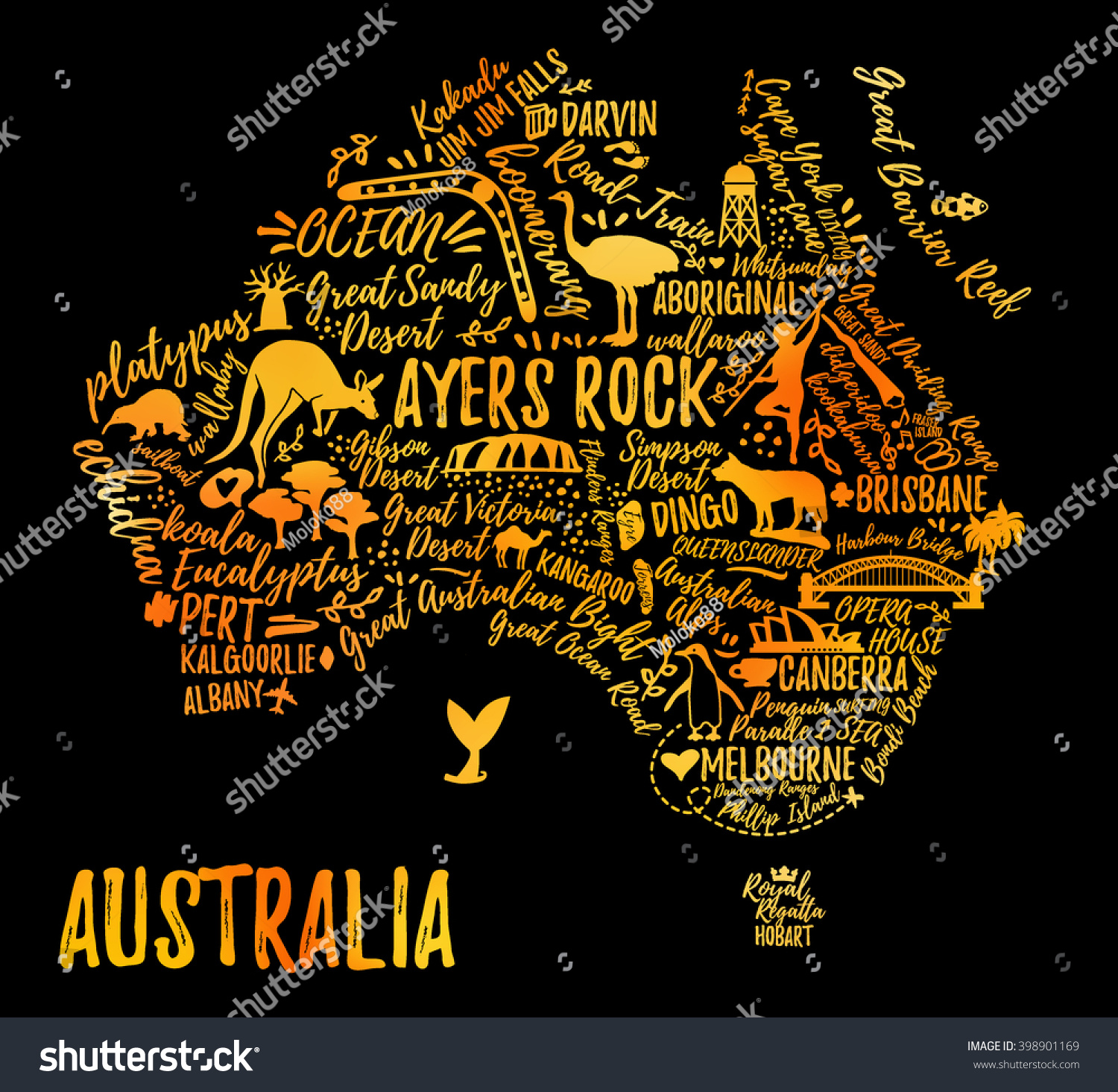 Typography poster australia map australia travel vectores en stock australia map australia travel guide gumiabroncs Images