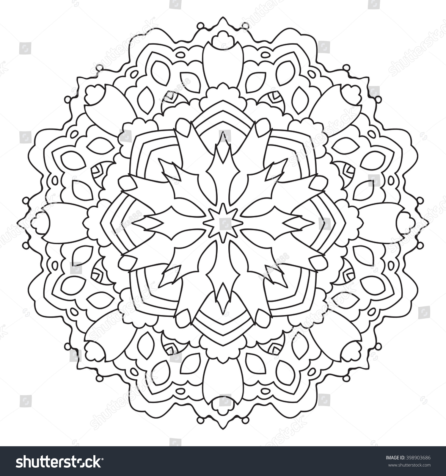 decorative oriental pattern coloring page for adults vector mandala preview save to a lightbox