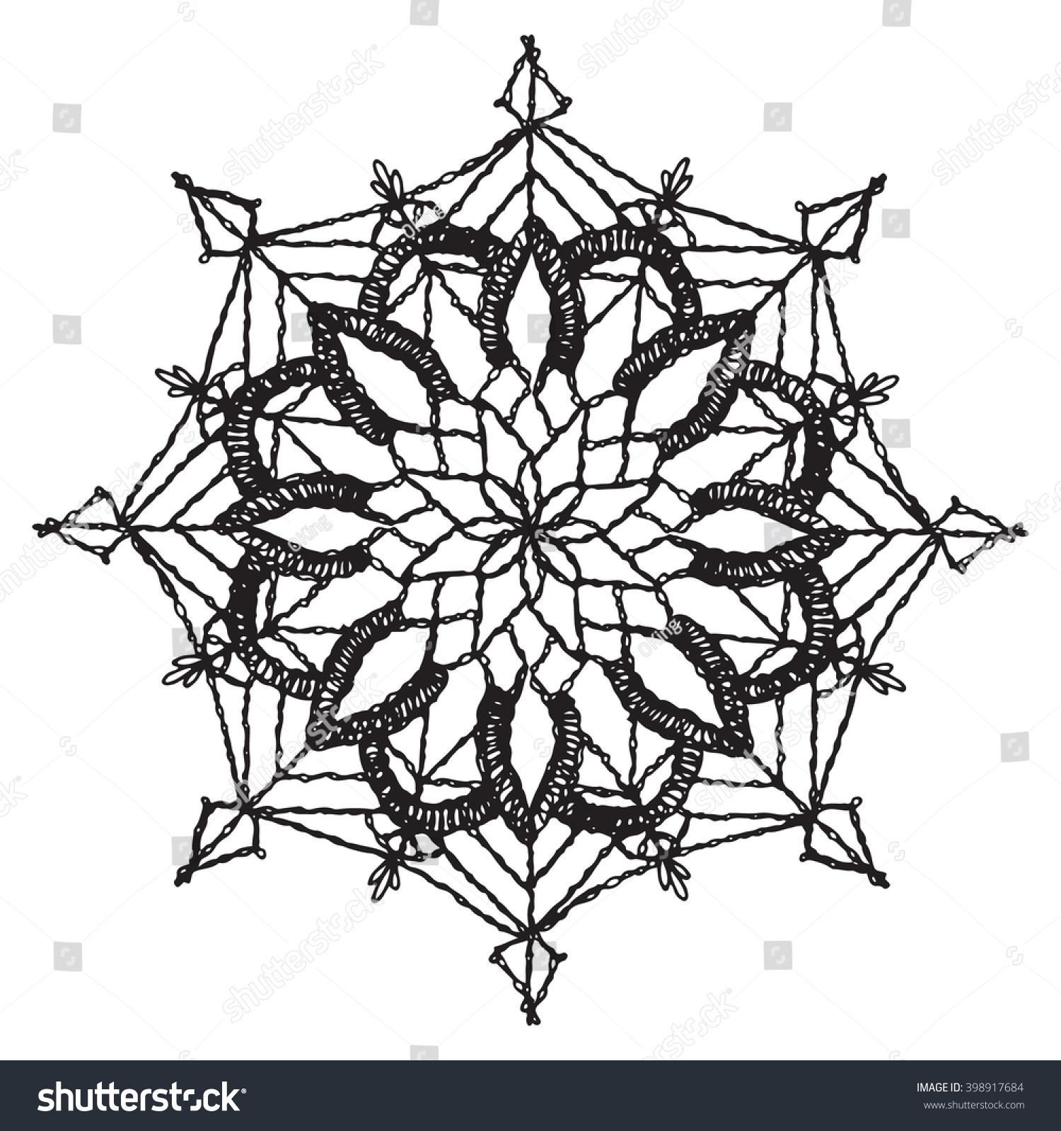Circular Floral Pattern Crochet Mandala Vector Vector de stock ...