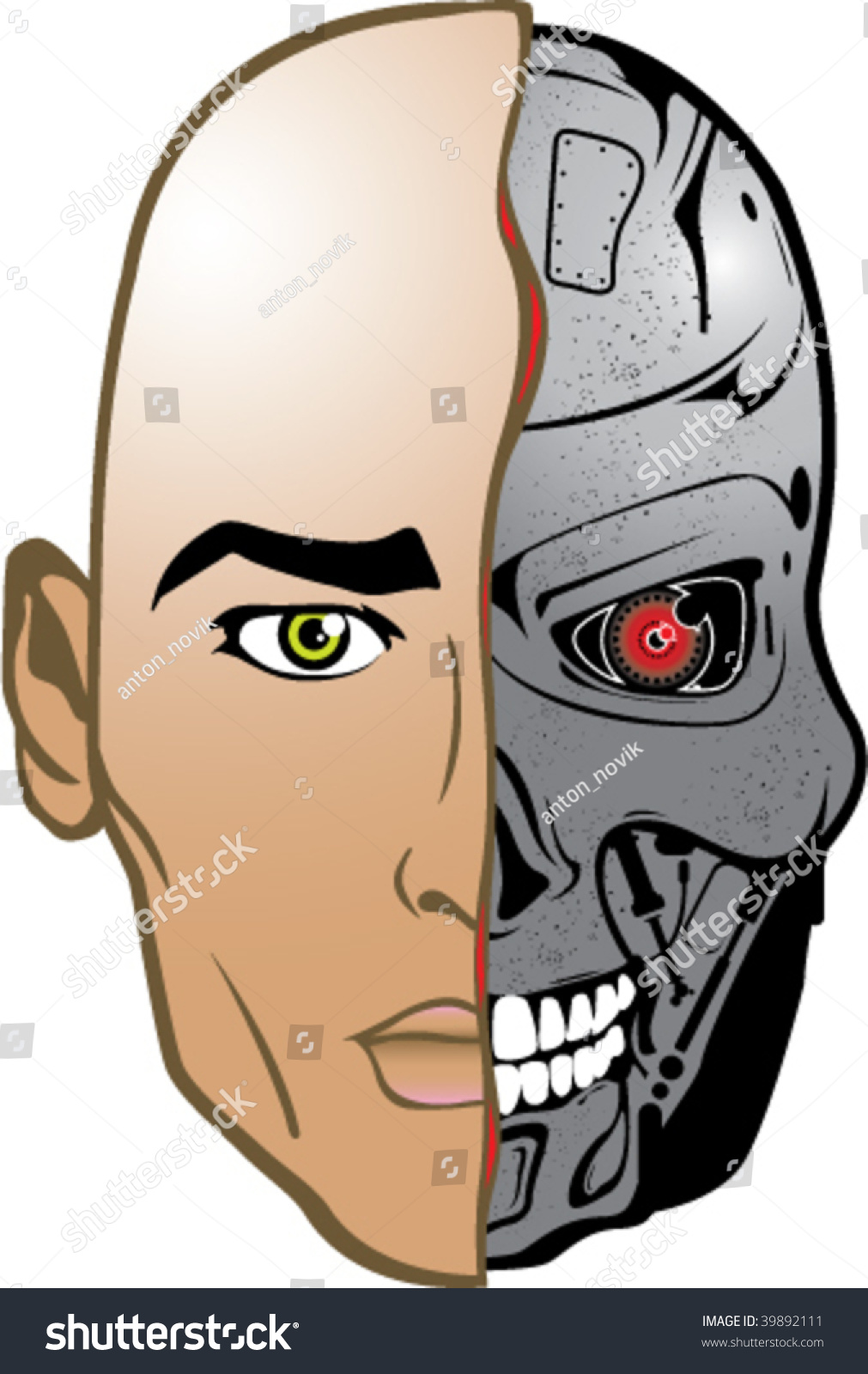 Color Robot Half Human Vector Humanoid Stock Vector ...