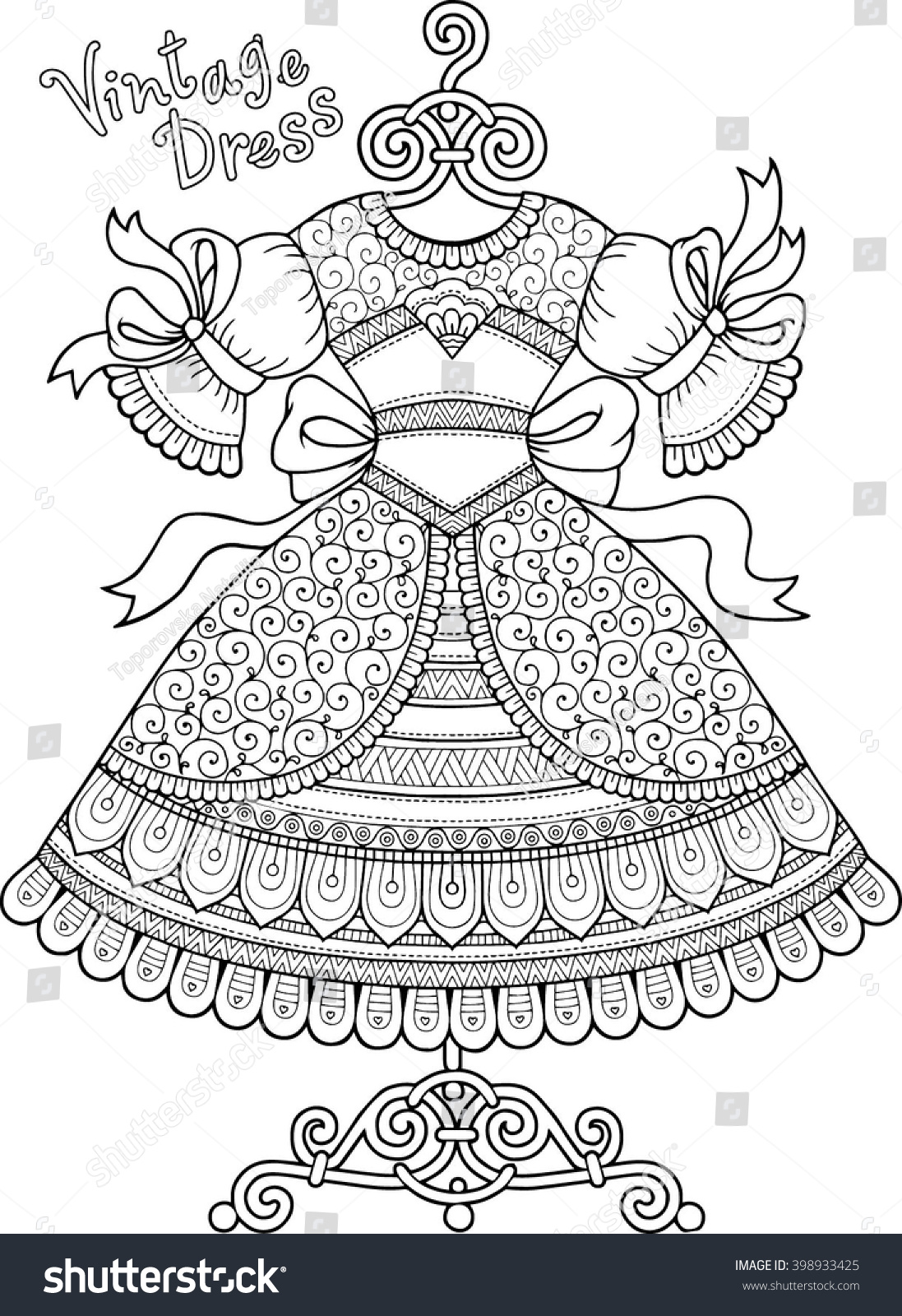 Anti stress colouring book asda - Anti Stress Vector Coloring Book For Adult Vintage Dress