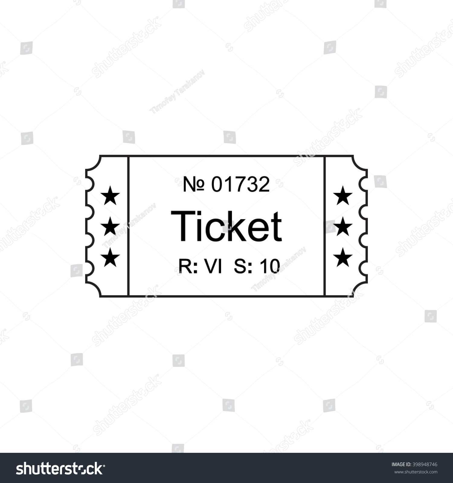 ticket icon in the outline style ticket vector illustration save to a lightbox