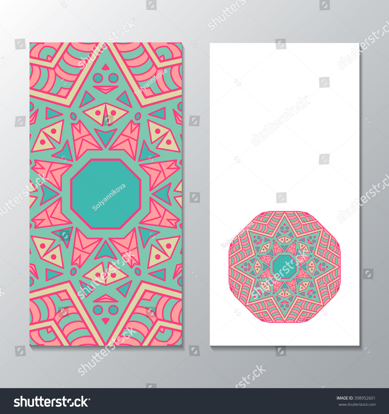 Vertical banner templates with mandala pattern Design for flyer banner invitation greeting card Ornament flyer