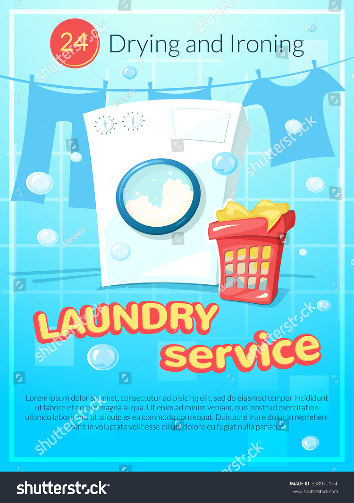 Laundry service advertising poster vector illustration for Ironing service flyer template