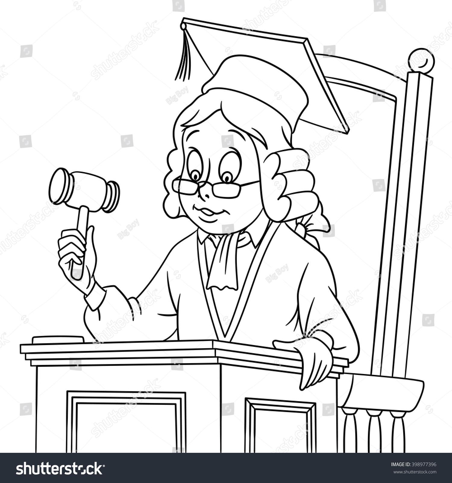 Cute Cartoon Judge Gavel Hat Wig Stock Vector Royalty Free