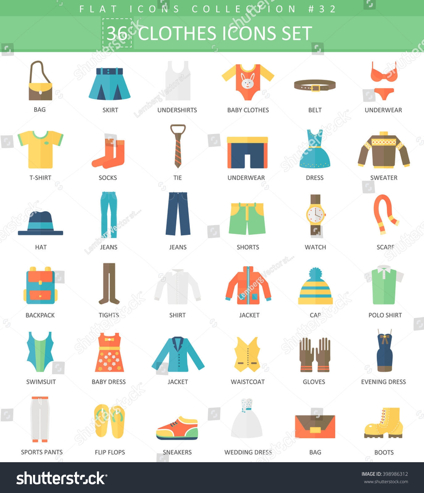 Vector Clothes Color Flat Icon Set Stock Vector Shutterstock