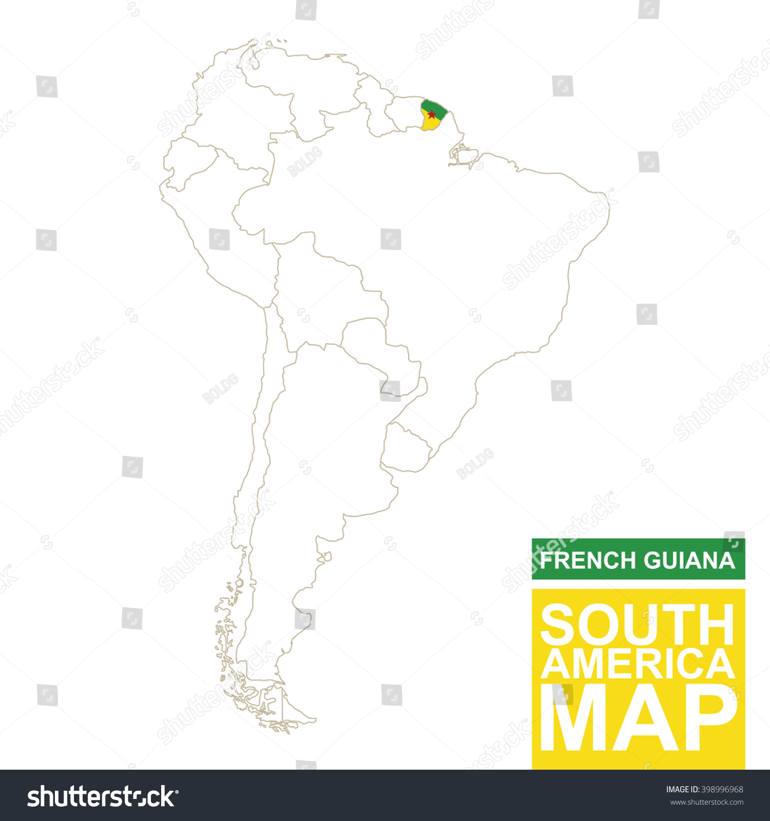 South America Contoured Map Highlighted French Stock Vector - South america french guiana map