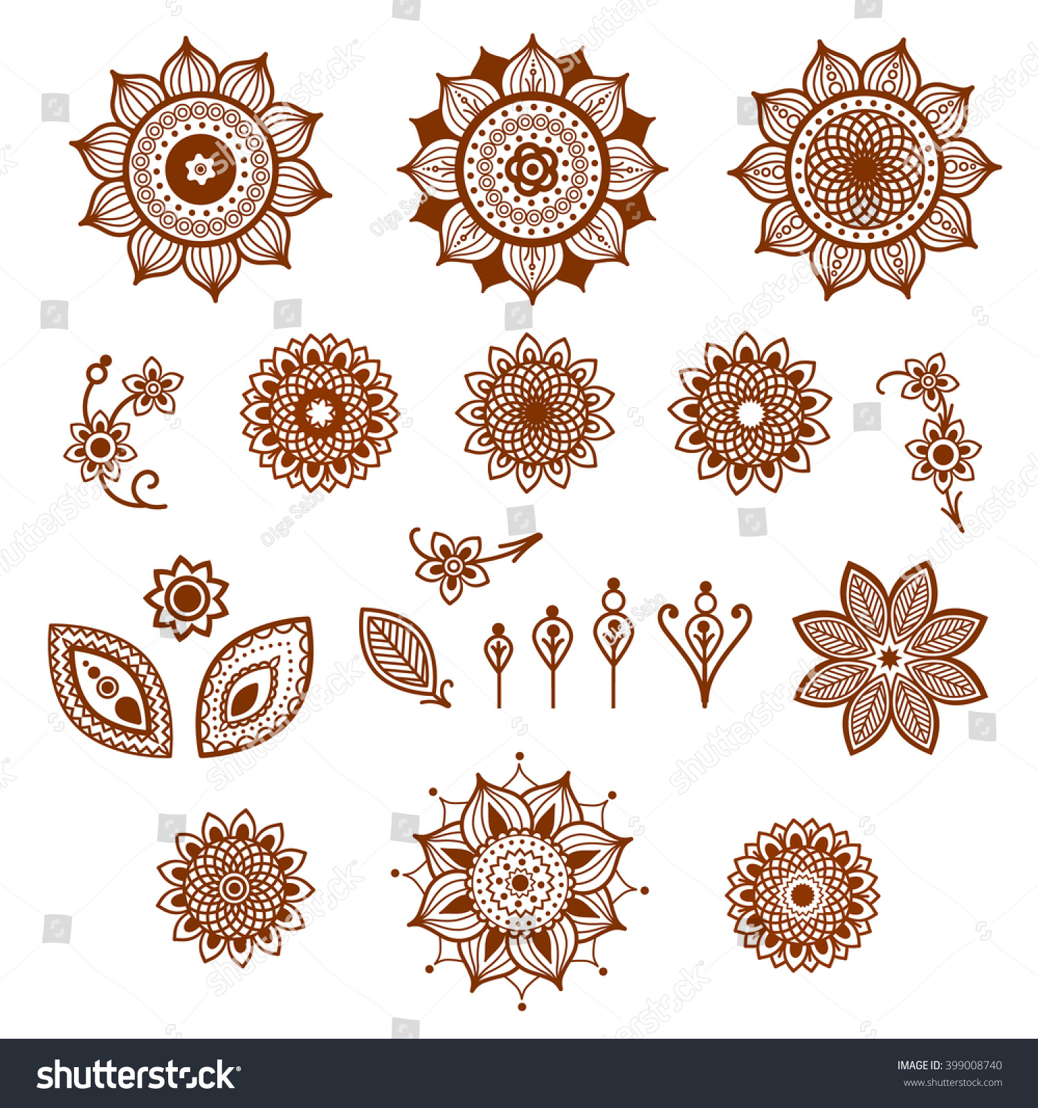 Henna Ornamental Floral Elements Mehndi Style Different