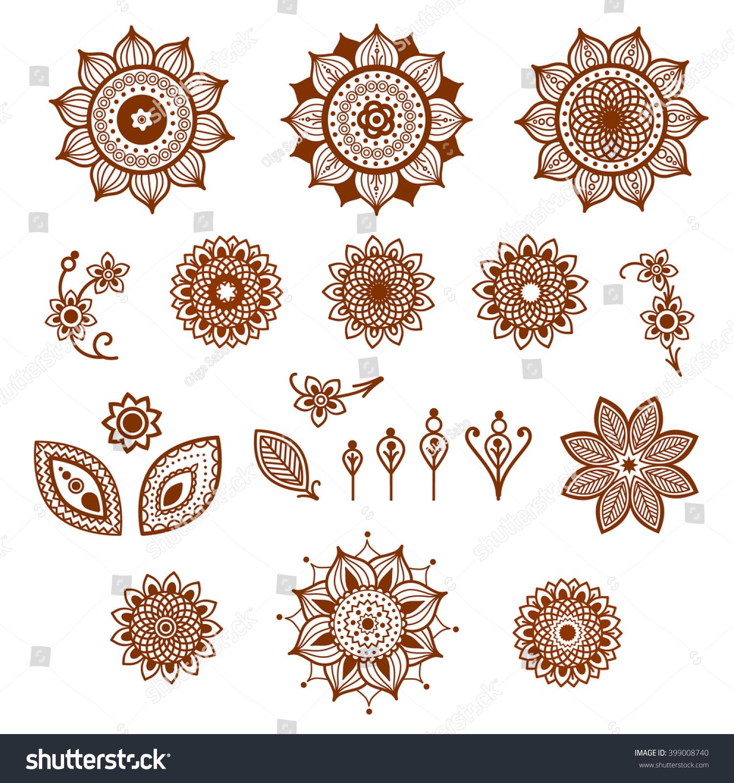 Henna Ornamental Floral Elements Mehndi Style Different