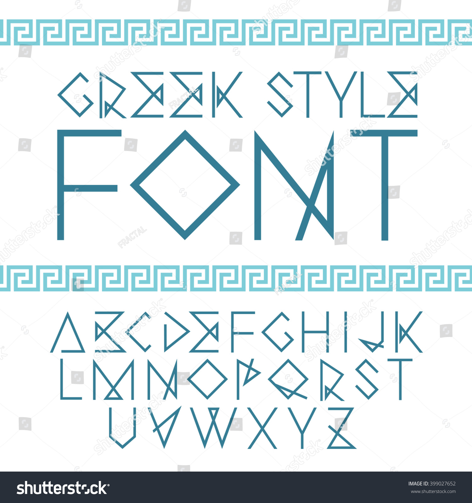 Vector linear font greek ethnic bright stock vector 399027652 vector linear font greek ethnic bright alphabet with ornament font good to use magicingreecefo Image collections