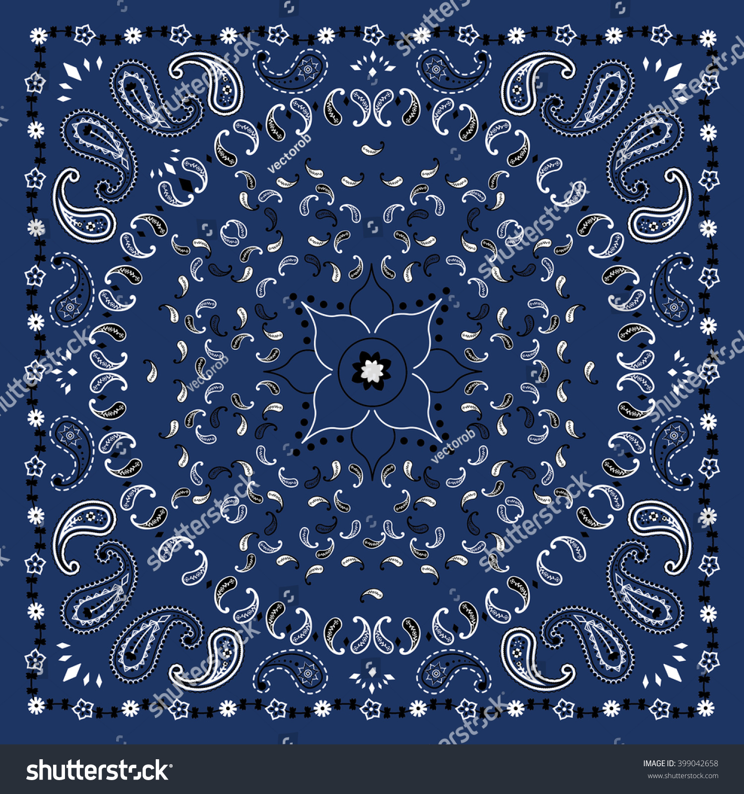 Blue Bandana Print Vector Stock Vector Shutterstock